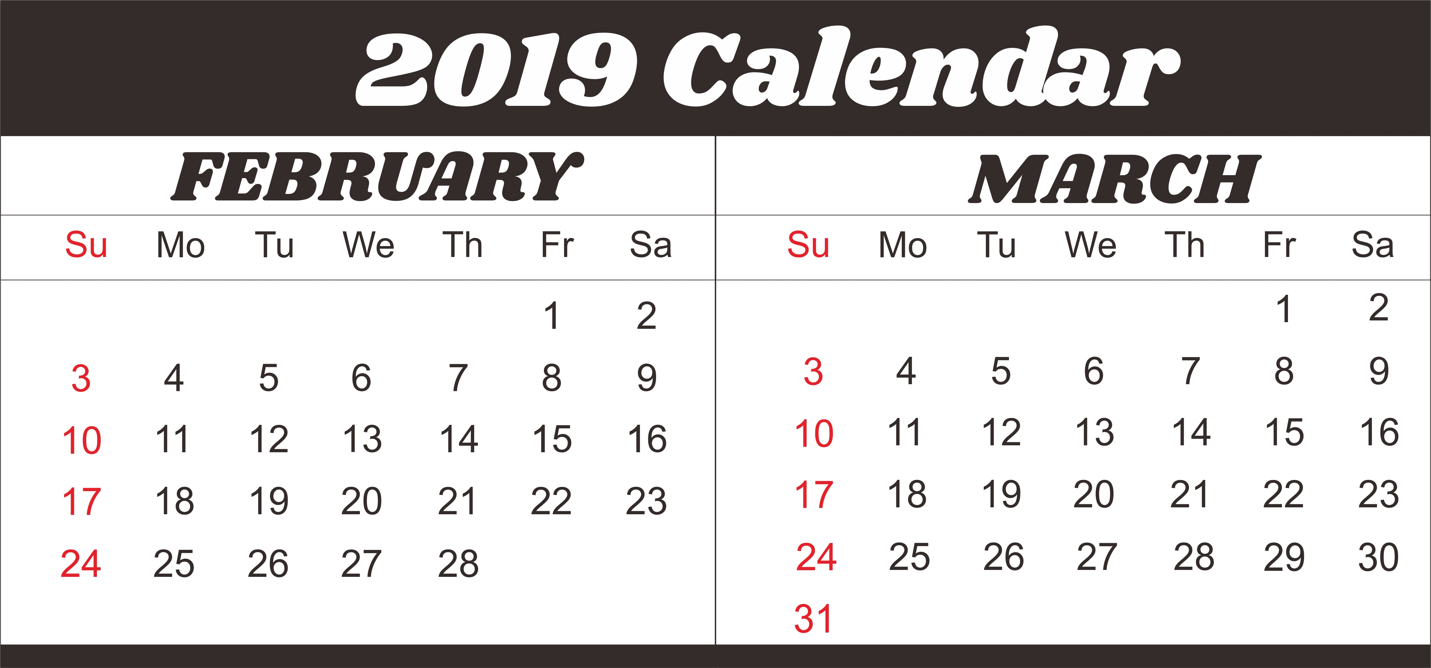 February March 2019 Calendar Template #februarycalendar March 2 2019 Calendar