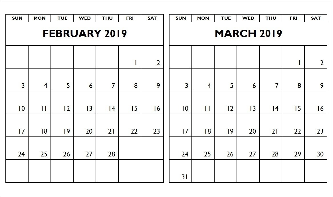 February March 2019 Two Month Calendar - Printable Calendar 2019 2 Month Calendar 2019