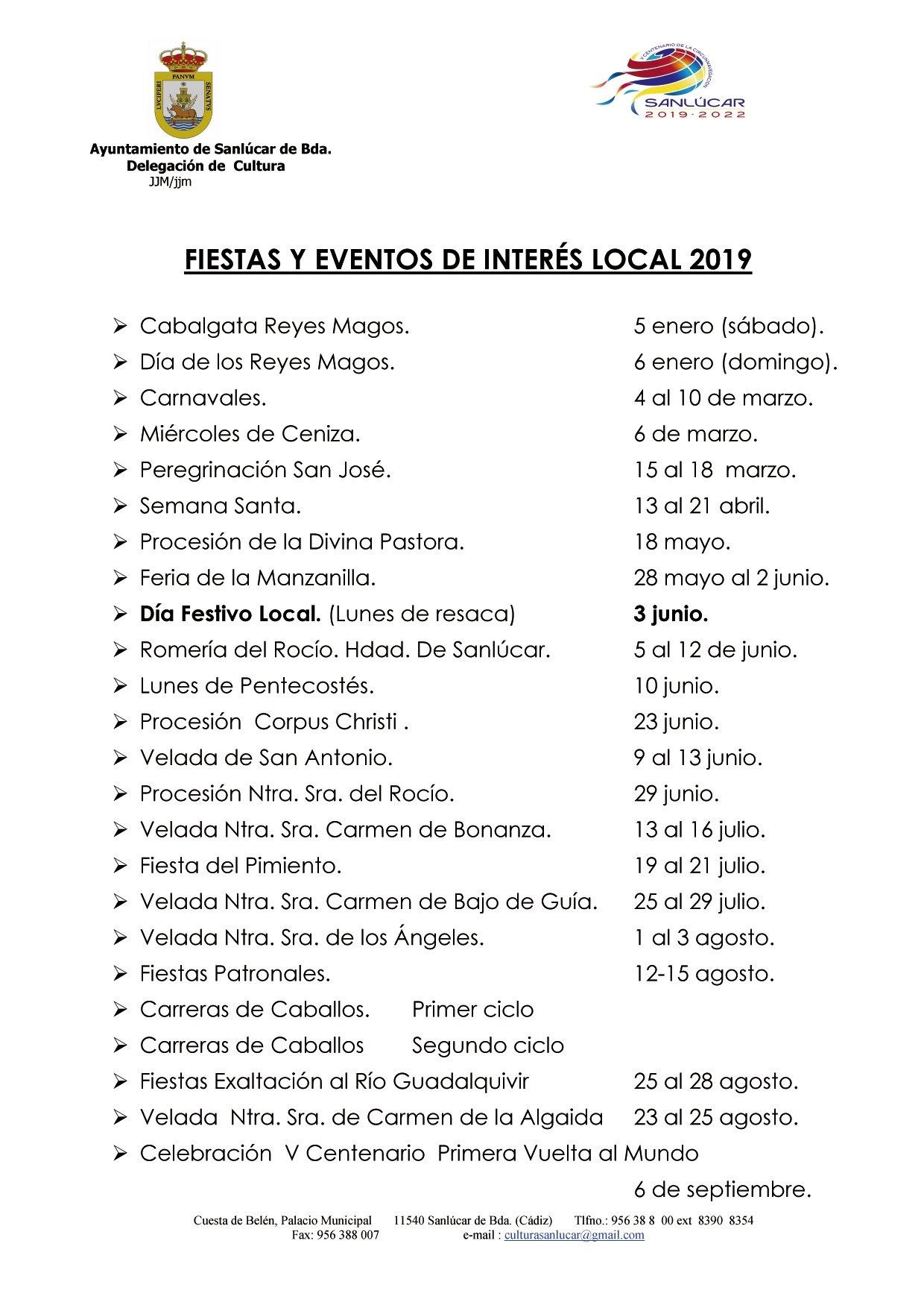 Festivals And Events Calendar Of 2018 And 2019 | Sanlúcar De Calendar Of 2019 With Festivals