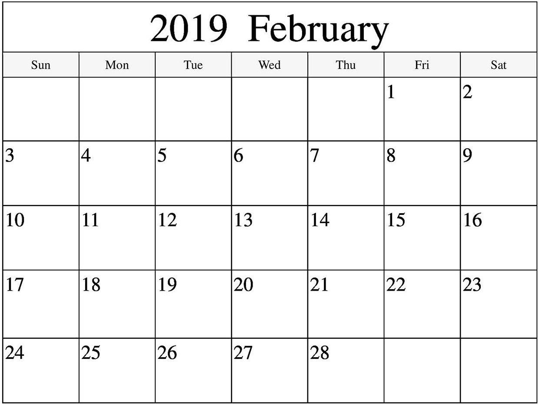 Fillable Calendar 2019 February – Free Calendar Templates Calendar 2019 February