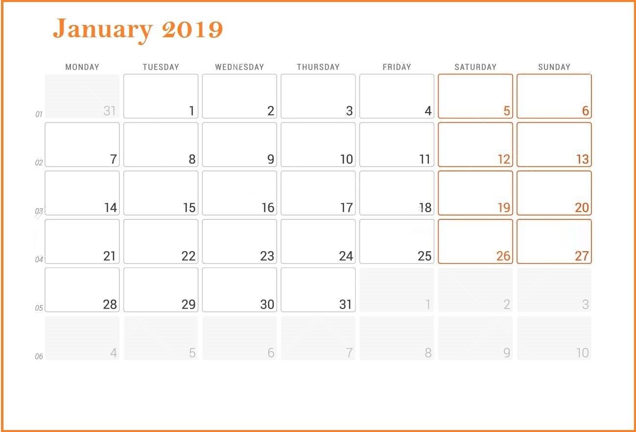 Fillable Calendar For January 2019 - Printable Calendar Templates Calendar 2019 Fillable