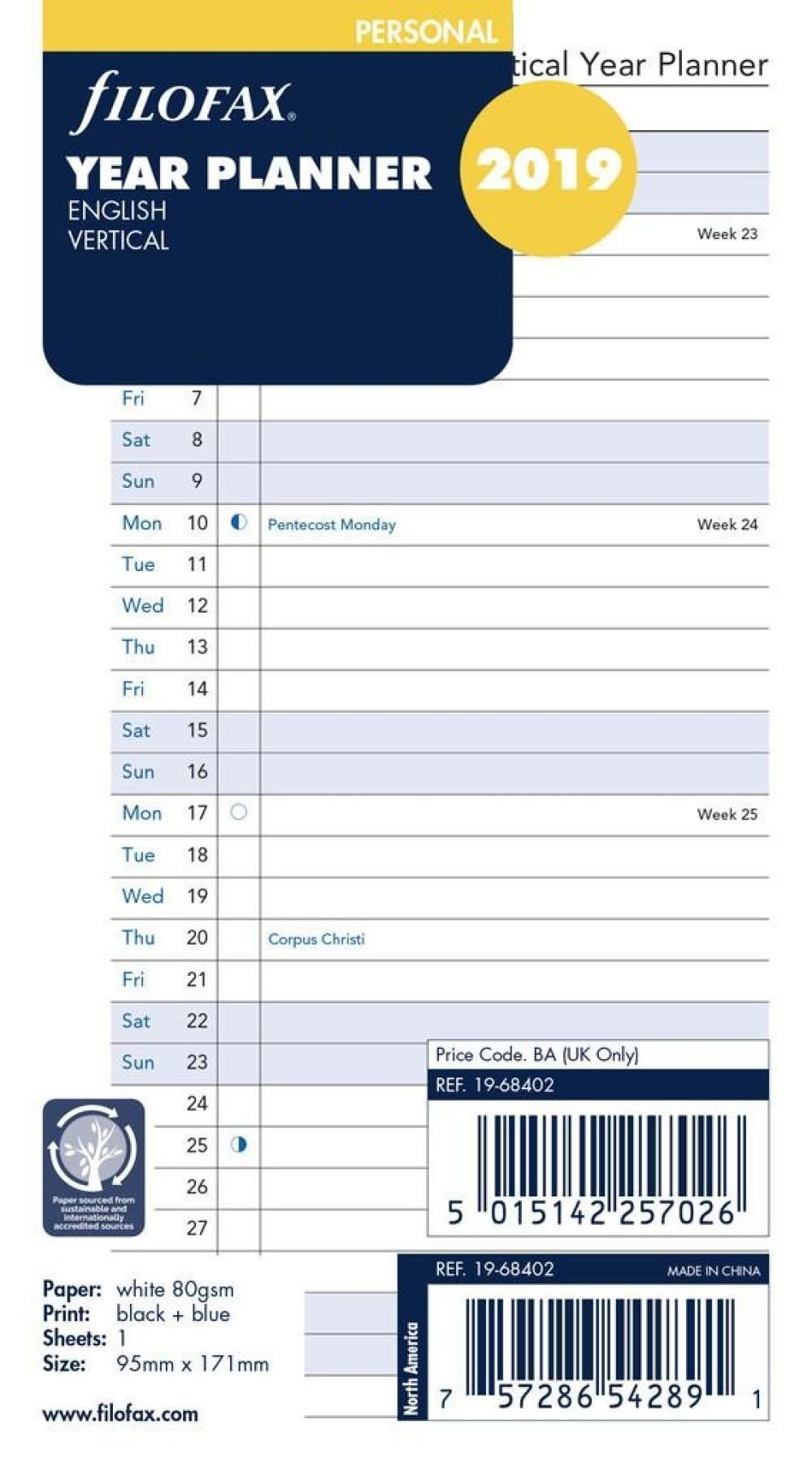 Filofax 2019 - Full Year Vertical Planner Calendar Refill - Personal Calendar 2019 Refill