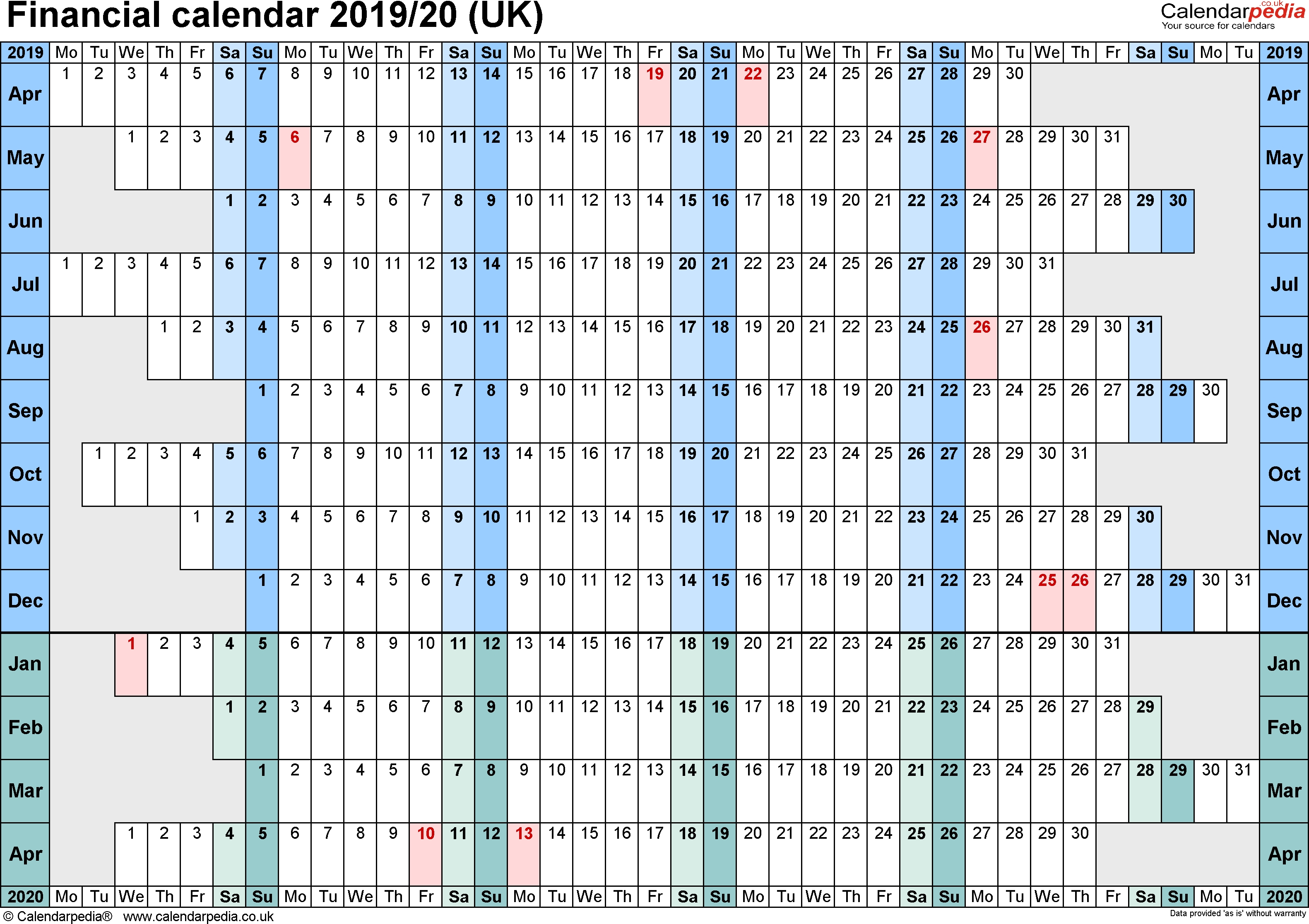 Financial Calendars 2019/20 (Uk) In Pdf Format 4 Week Period Calendar 2019
