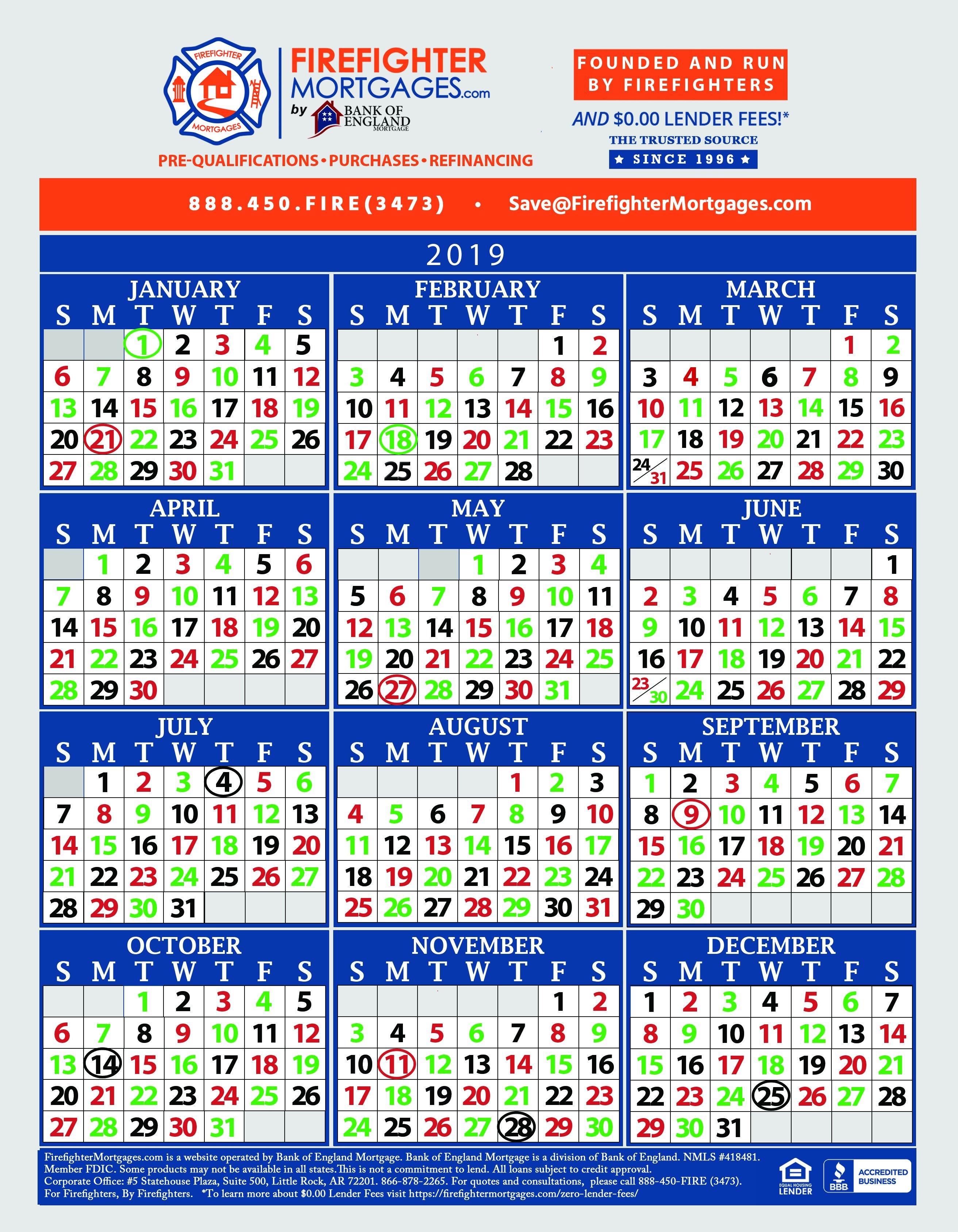 Firefighter Shift Calendar, Firefighter Calendar, Firefighter Calendars 3 Shift Calendar 2019