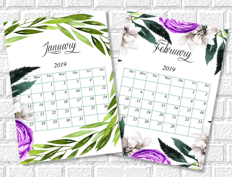 Floral Calendar 2019 Printable Monthly Desk Calendar | Etsy Calendar 2019 Vistaprint