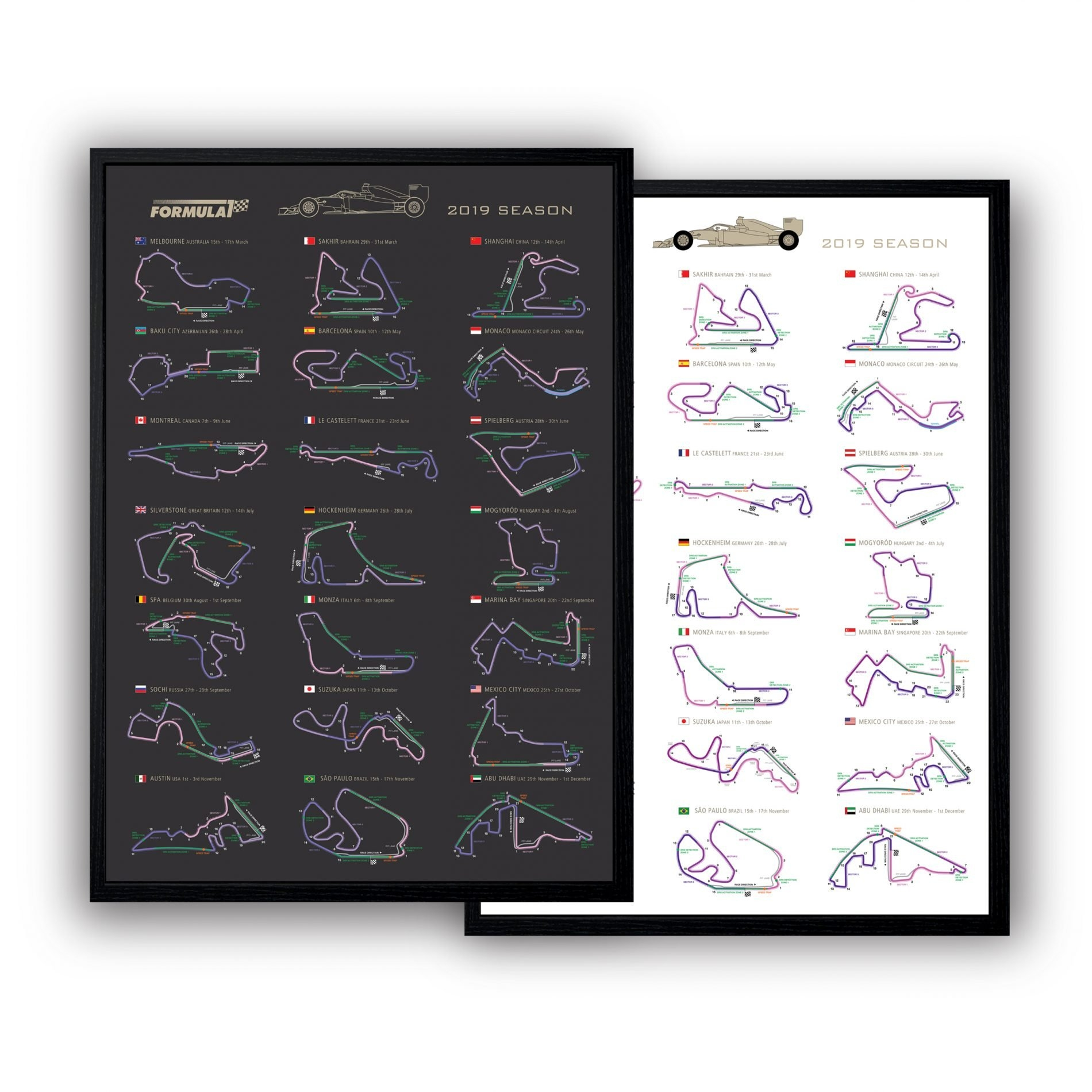 Formula 1 2019 Circuits Poster Calendar – The Gpbox Formula 1 Calendar 2019