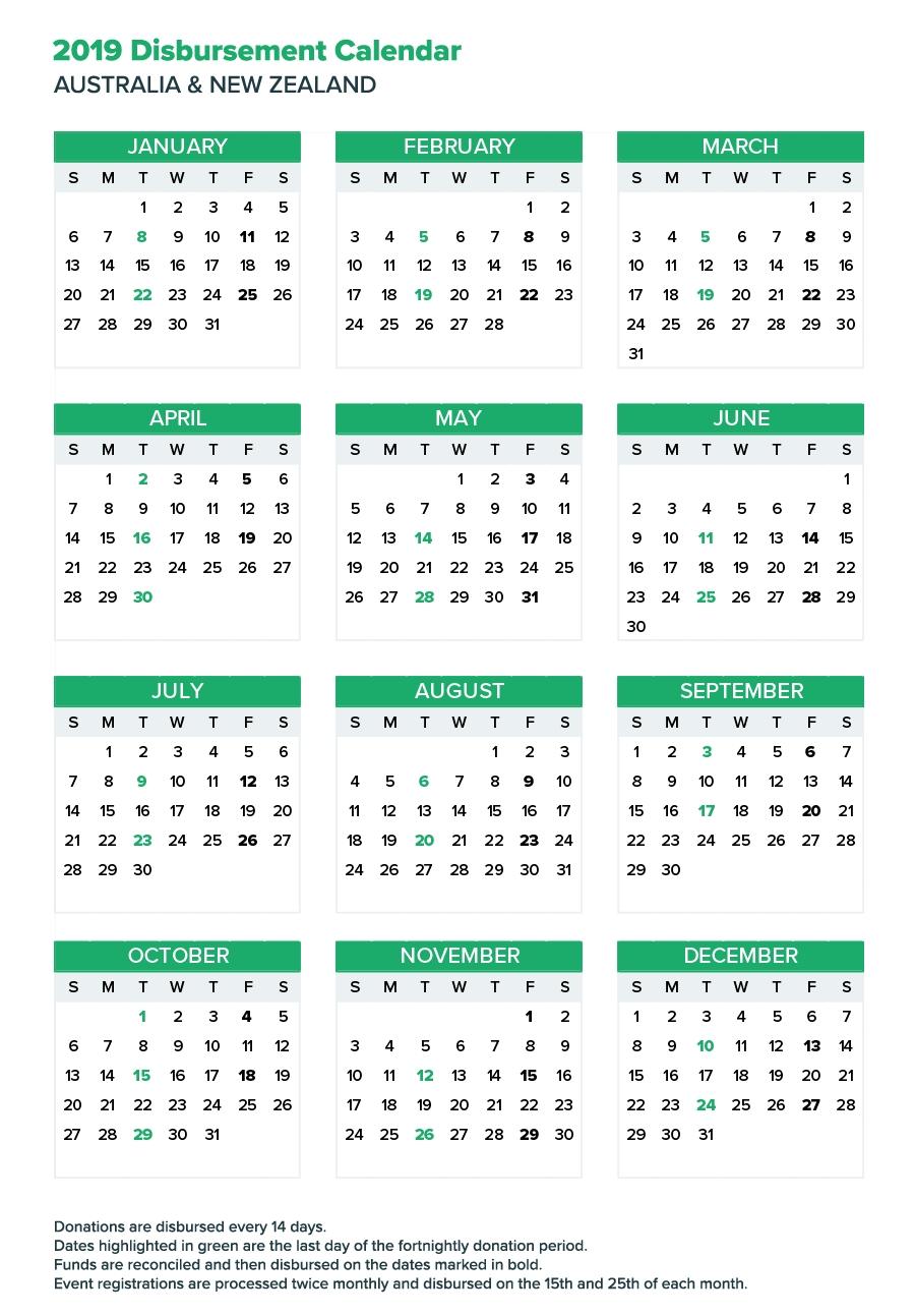 Fortnightly Donation Payments Calendar | Everydayhero Calendar 2019 Zealand