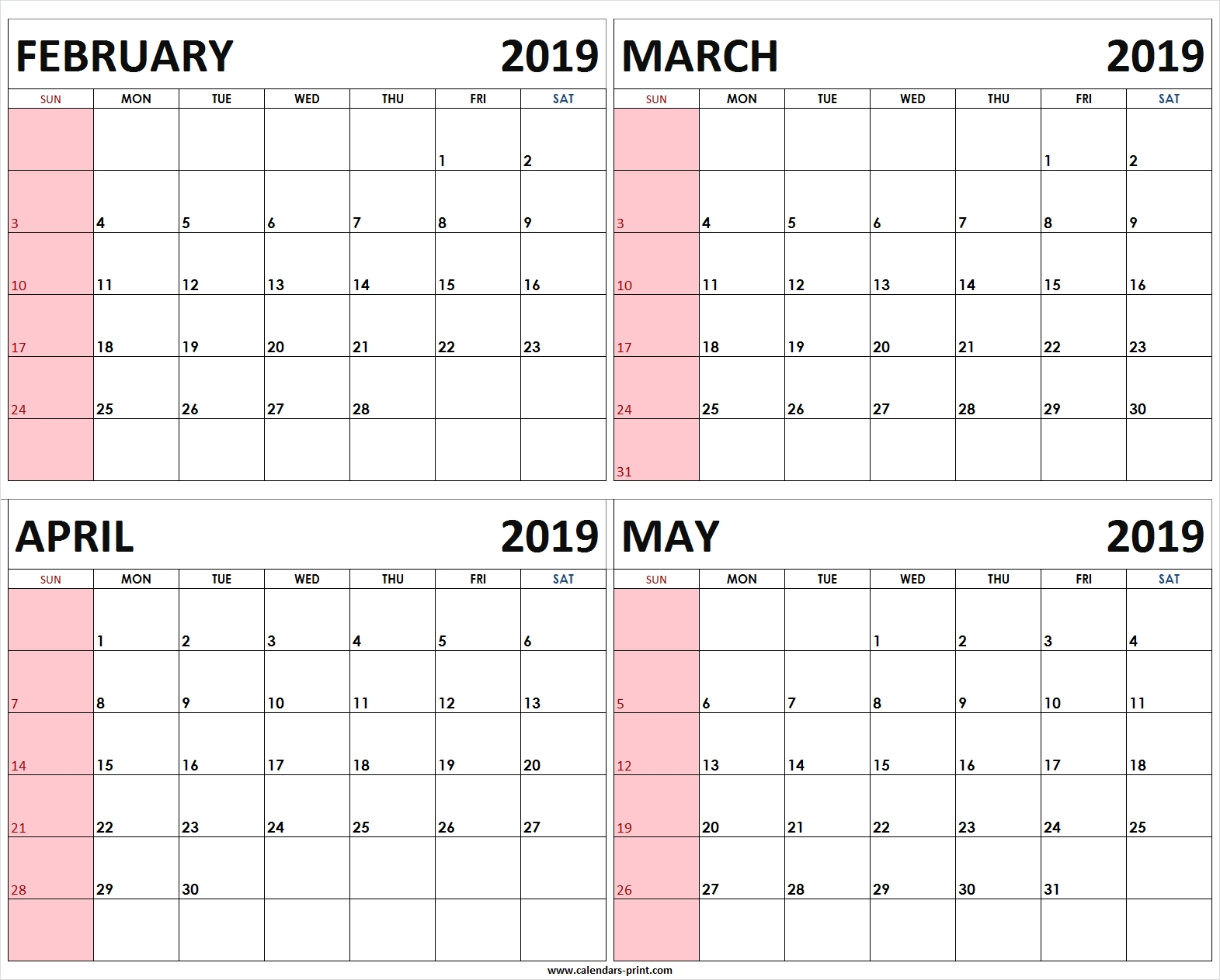 Four Monthly February March April May 2019 Calendar | Template February 4 2019 Calendar