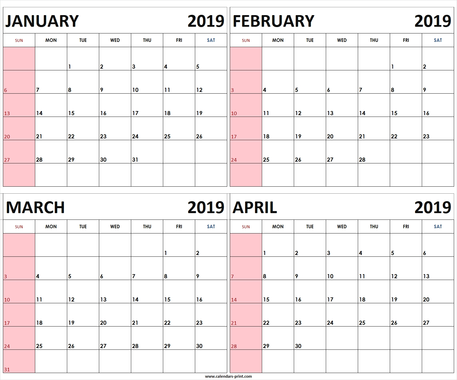 Four Monthly January February March April 2019 Calendar | Template April 4 2019 Calendar