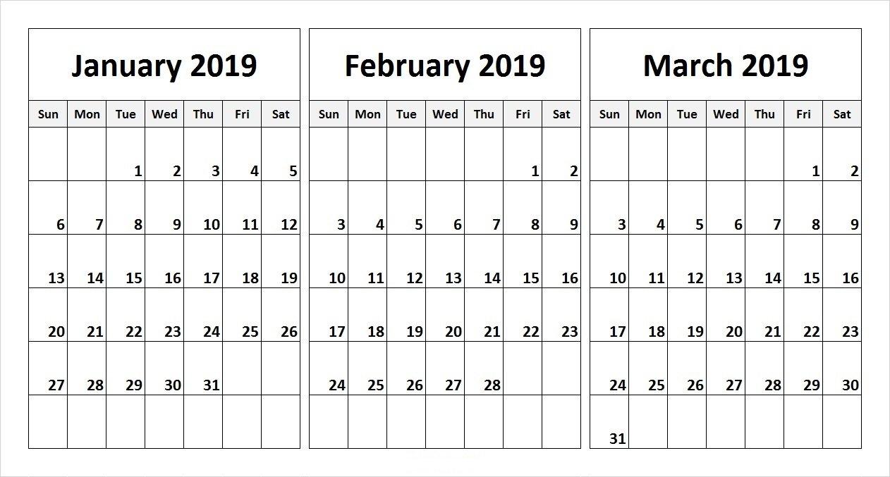 Free 2019 Three Month Printable Calendar Templates | Free Printable 3 Month Calendar 2019 Printable