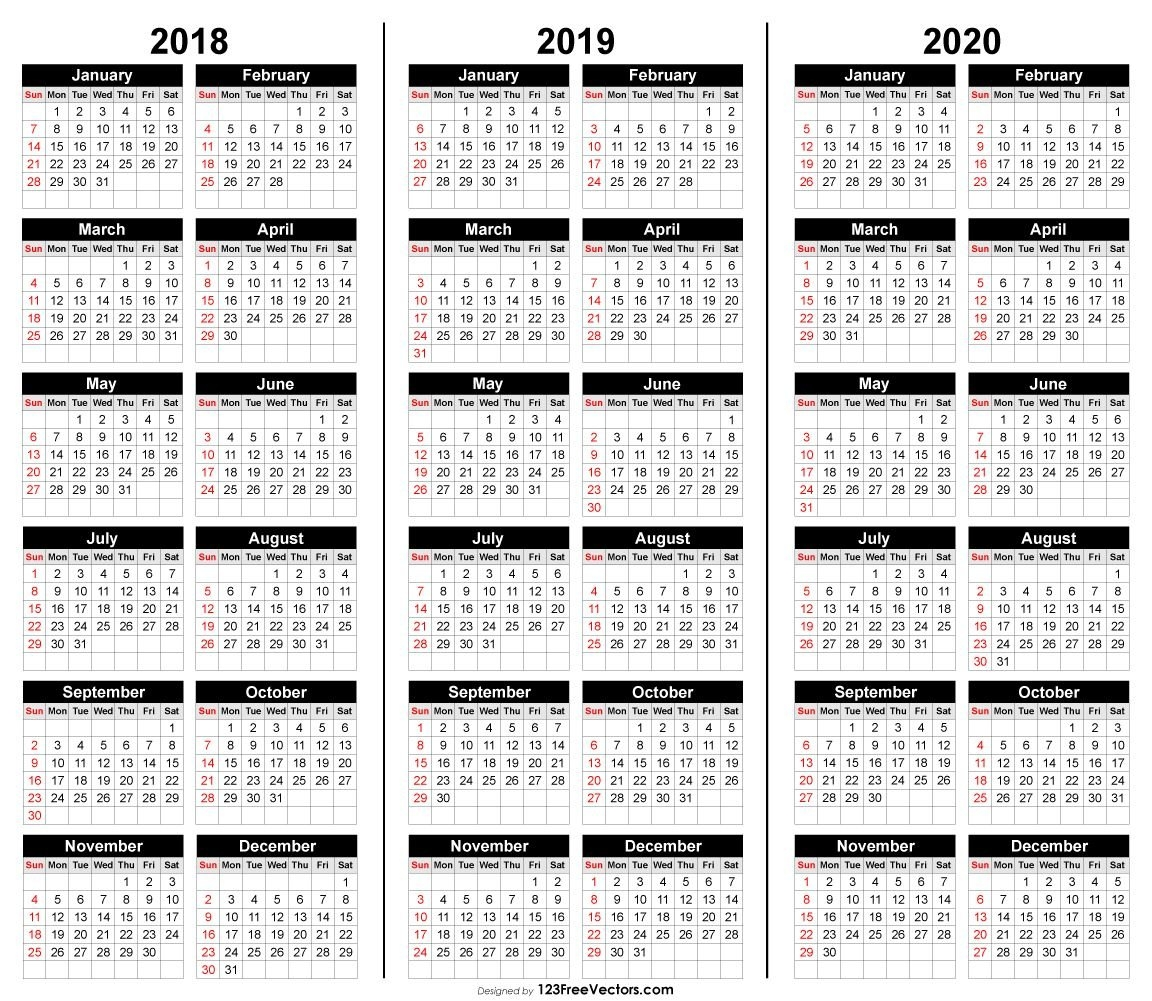 Free 3 Year Calendar 2018 2019 2020 | 2019 Calendar | Calendar 3 Year Calendar 2019