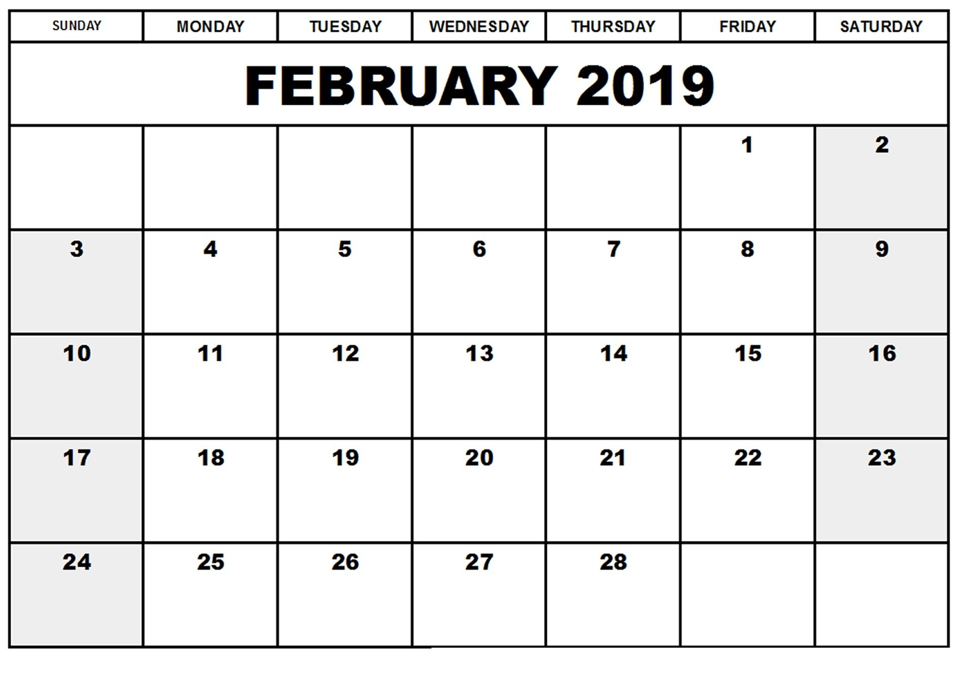 Free Blank A4 February 2019 Calendar Pdf, Excel, Word | Template Calendar 2019 Download Word