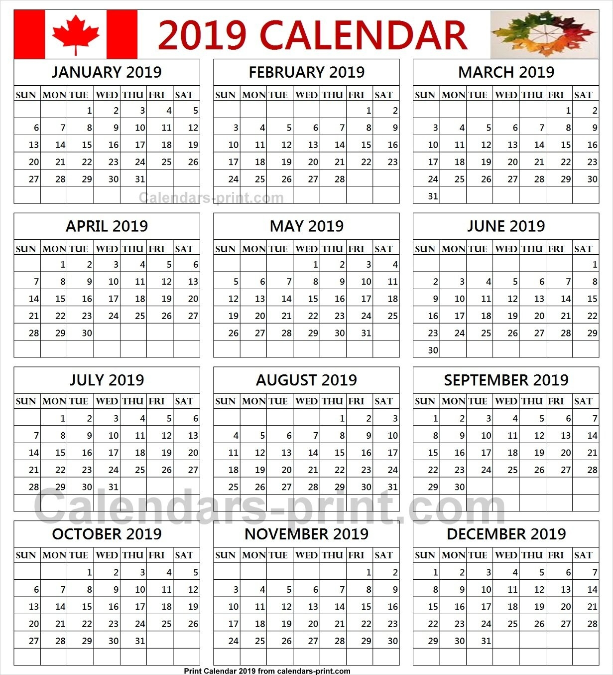 Free Calendar 2019 Canada Printable Template With Notes | Holidays Calendar Year 2019 Canada