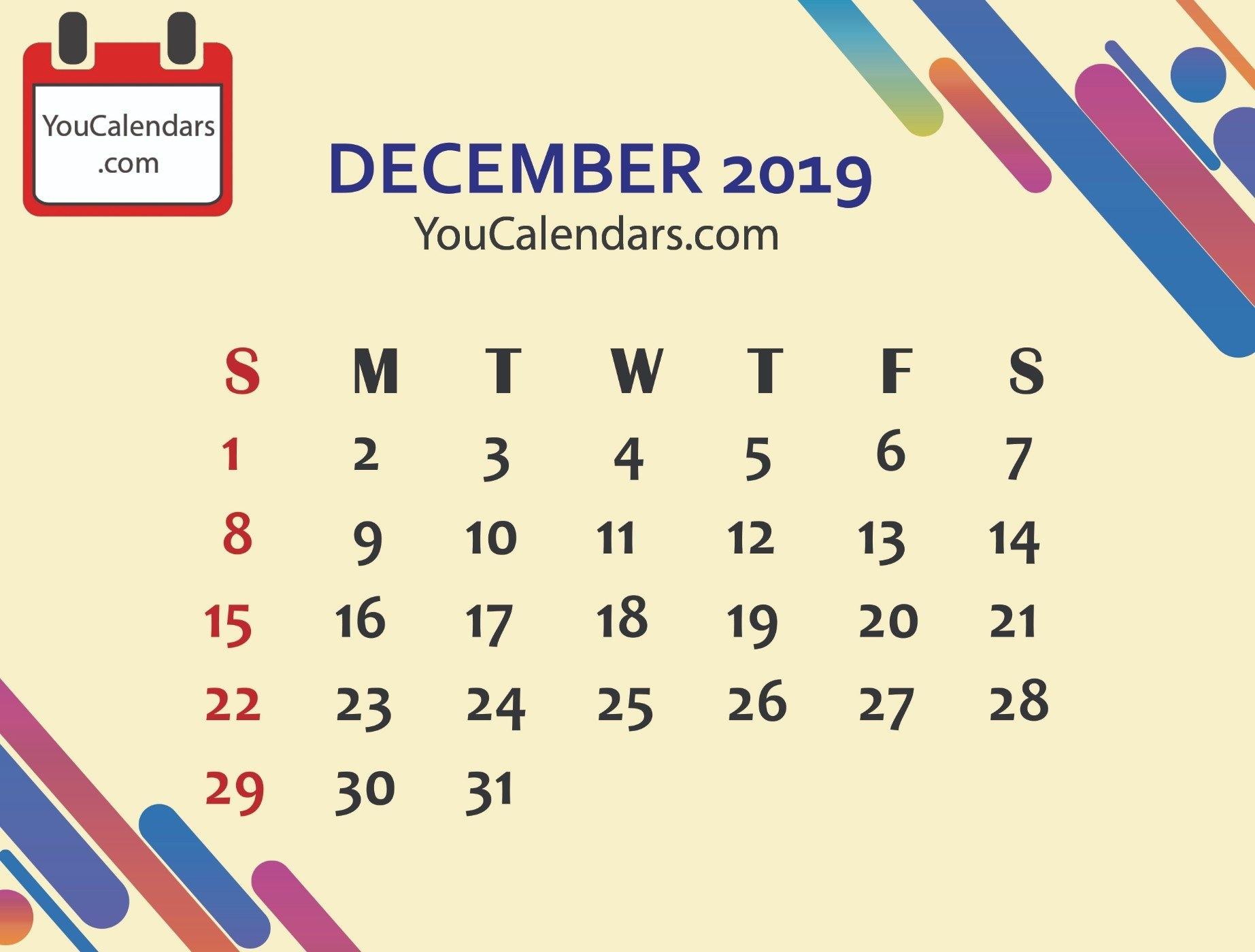 Free December 2019 Calendar Printable Template - You Calendars U Of W Calendar 2019