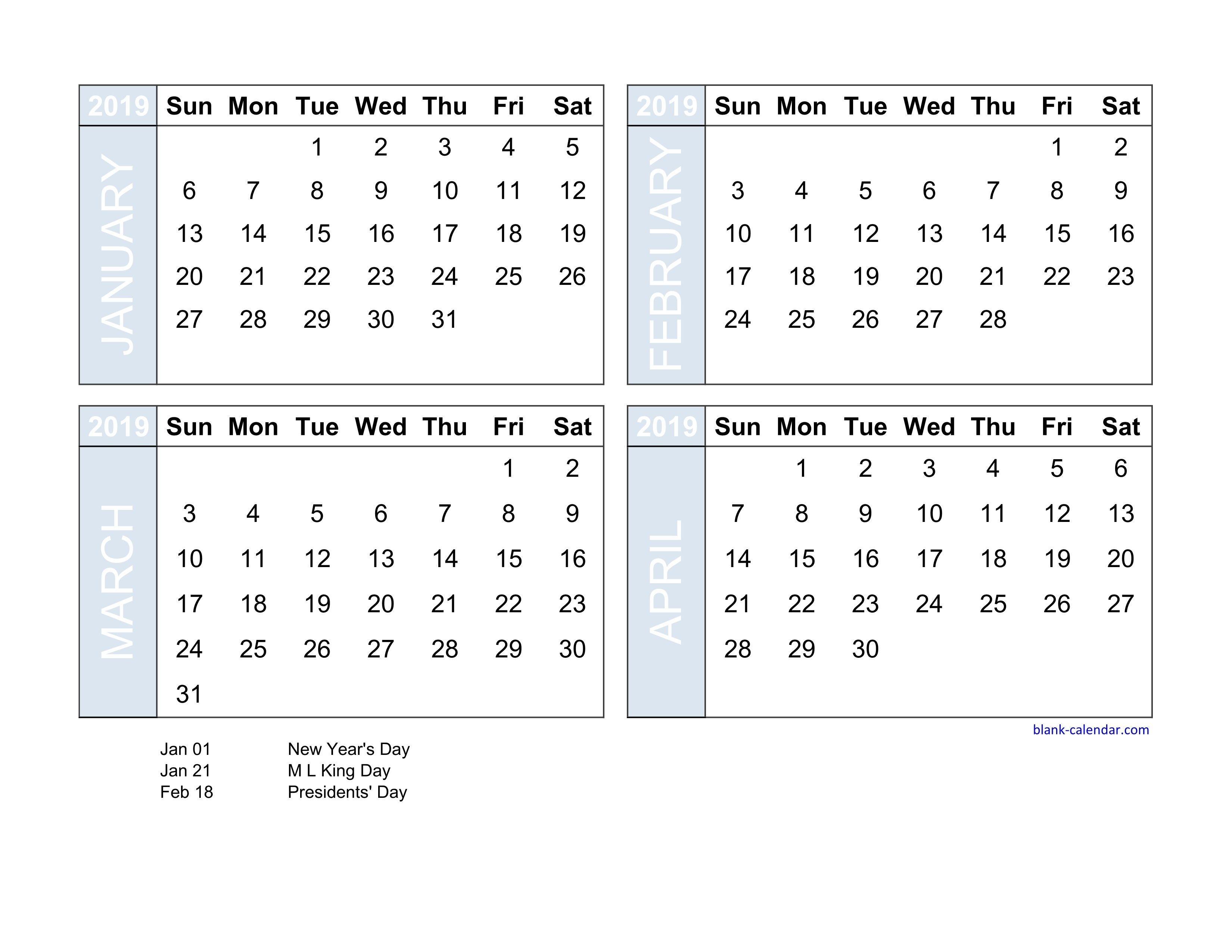 Free Download 2019 Excel Calendar Four Month In Landscape Format Calendar 2019 4 Month