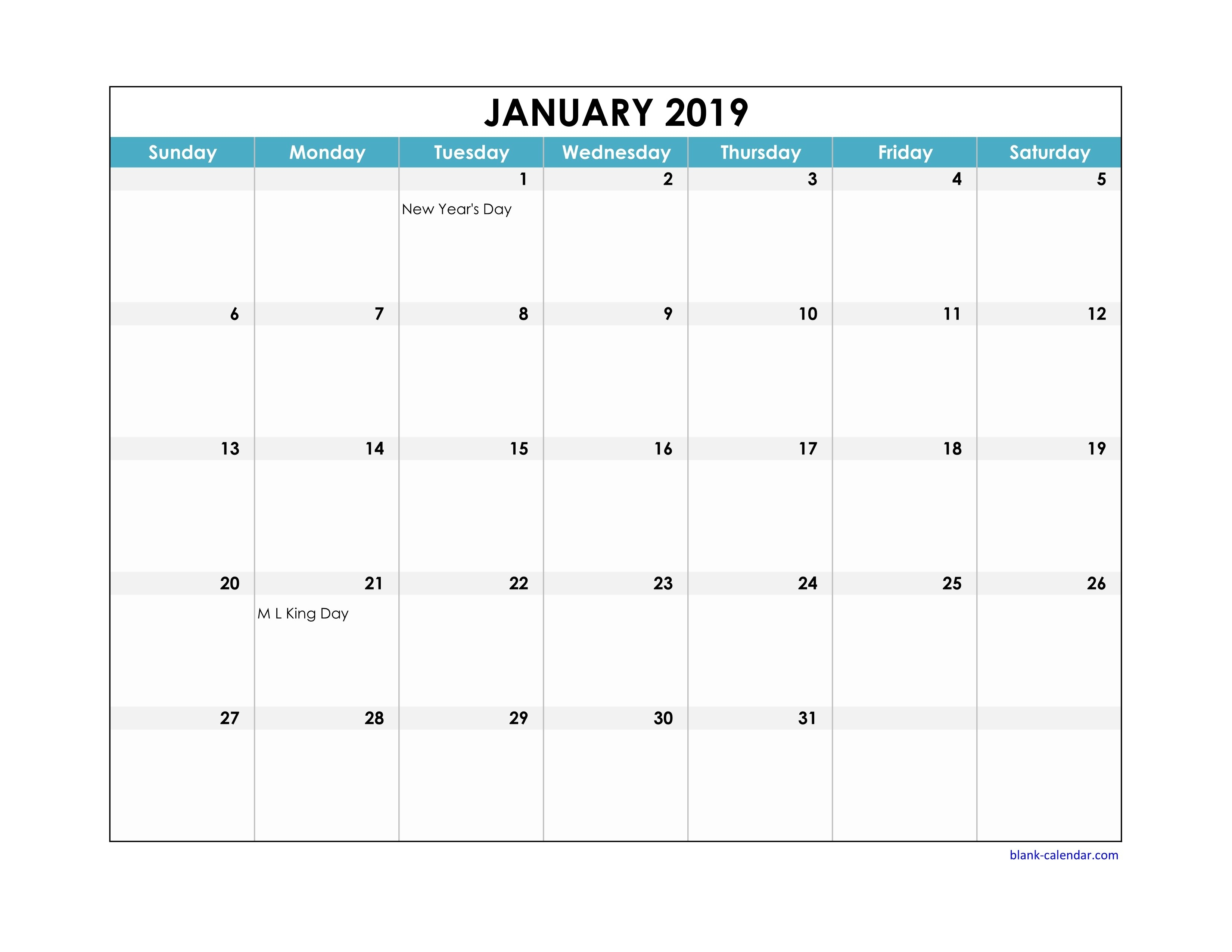 Free Download 2019 Excel Calendar Large Boxes In The Grid (Horizontal) Calendar 2019 Xls