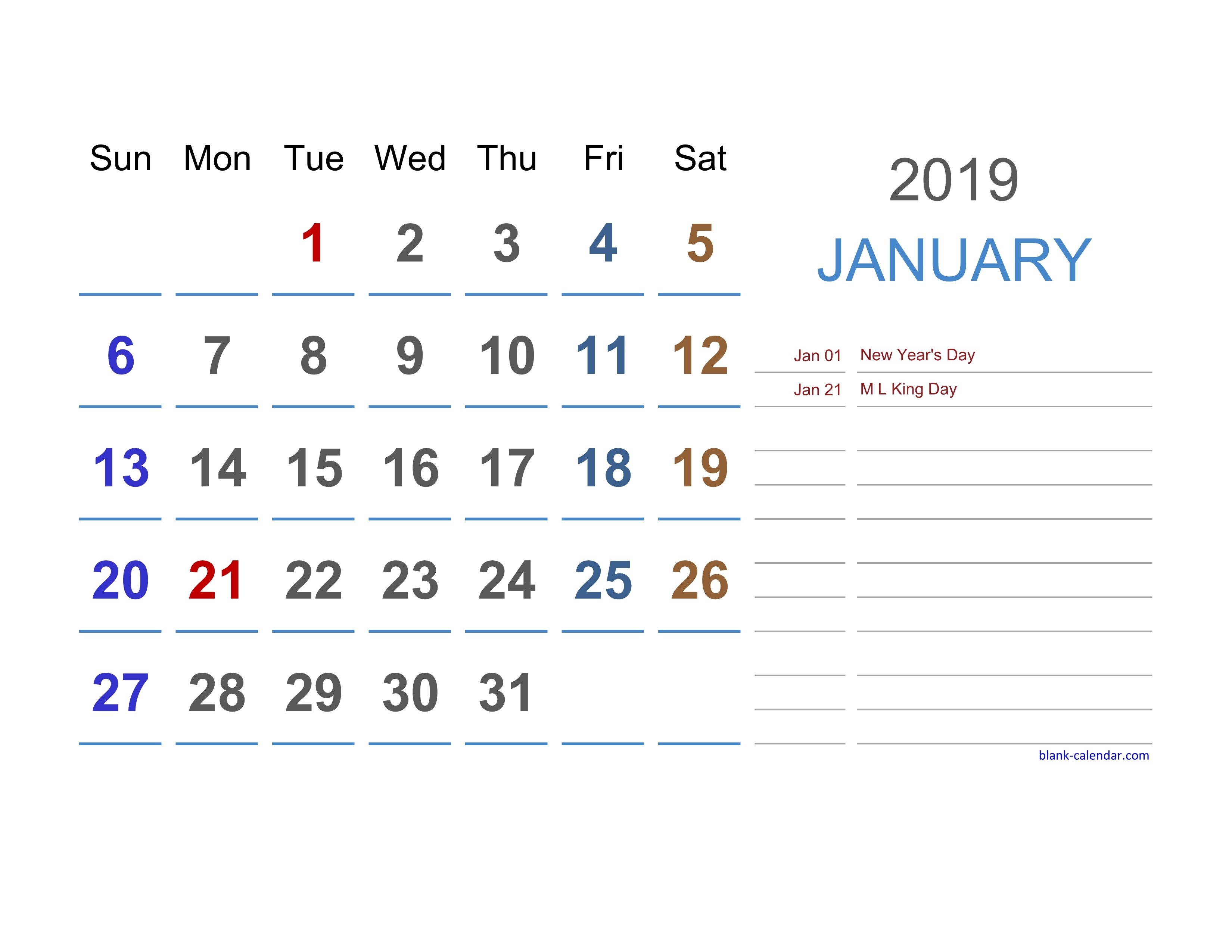 Free Download 2019 Excel Calendar Large Space For Notes (Horizontal) Calendar 2019 Excel Editable