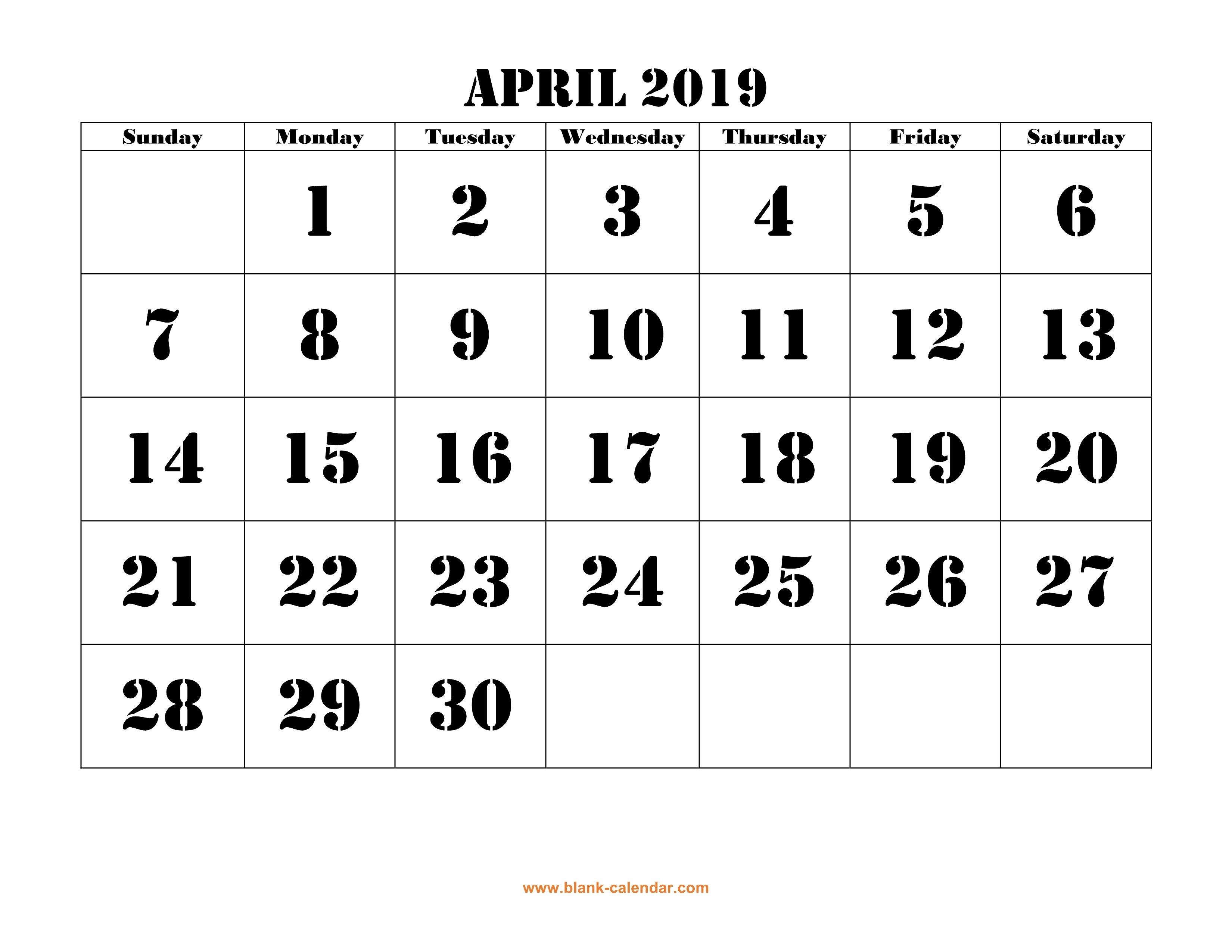 Free Download Printable April 2019 Calendar, Large Font Design April 9 2019 Calendar