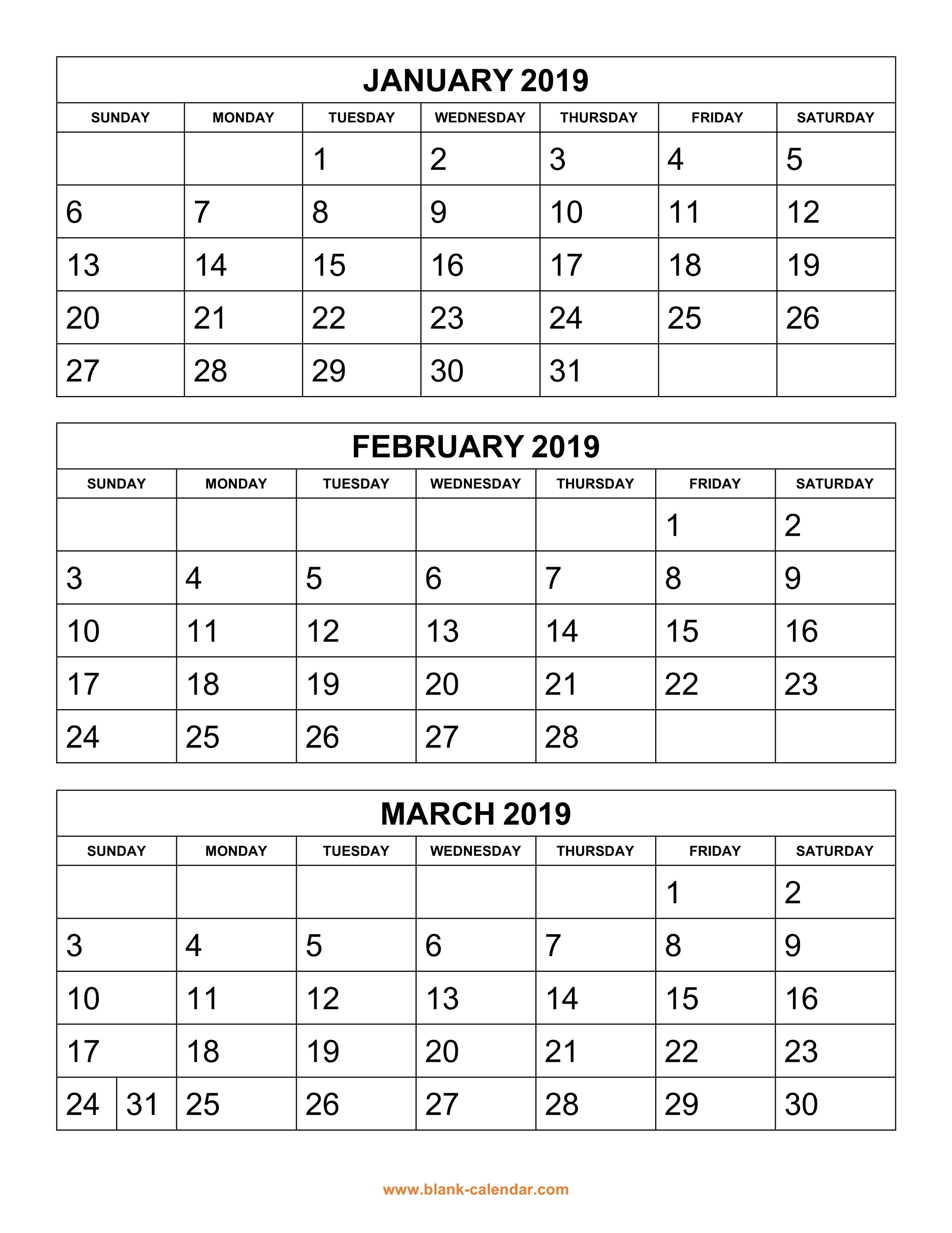 Free Download Printable Calendar 2019, 3 Months Per Page, 4 Pages Calendar 2019 3 Columns