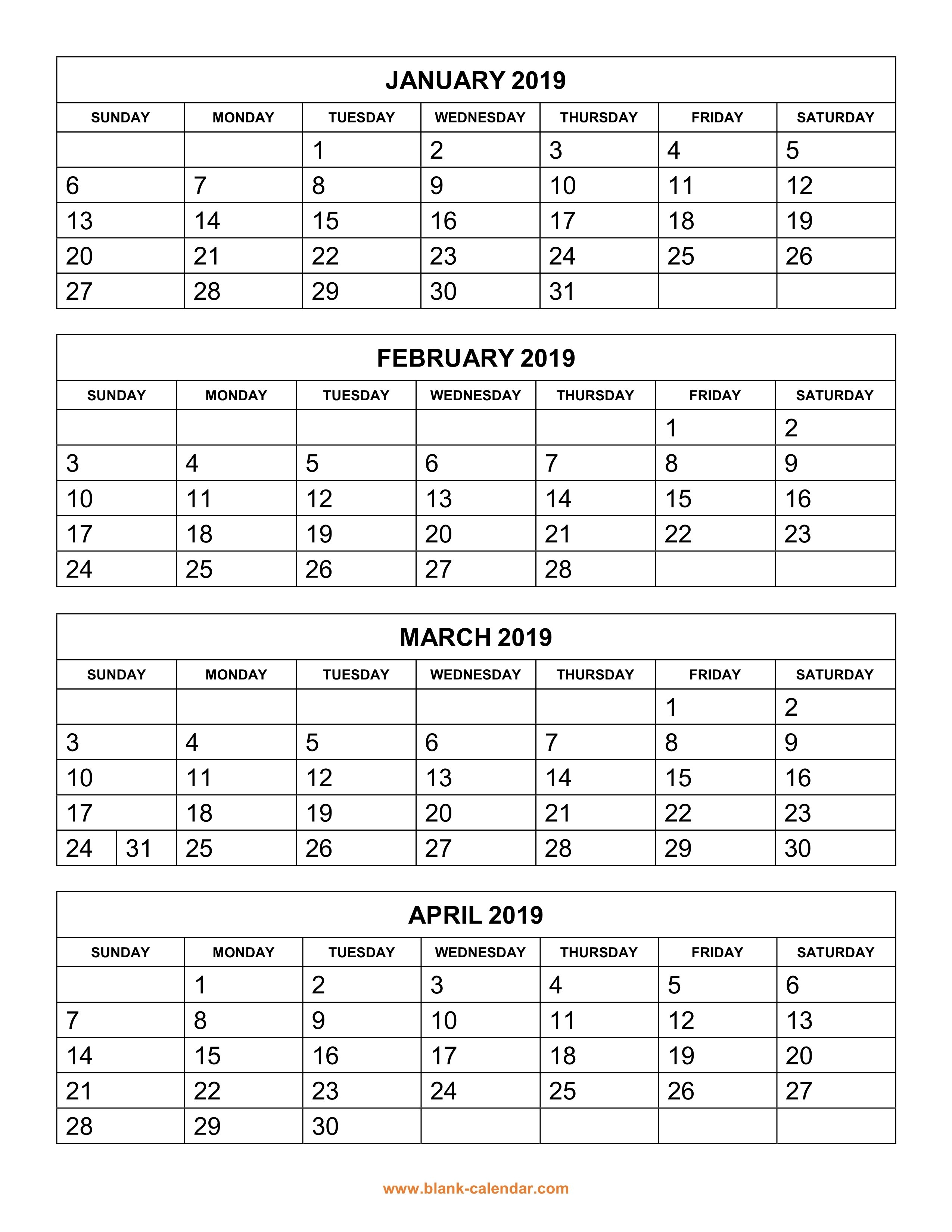 Free Download Printable Calendar 2019, 4 Months Per Page, 3 Pages 4 Month Calendar 2019