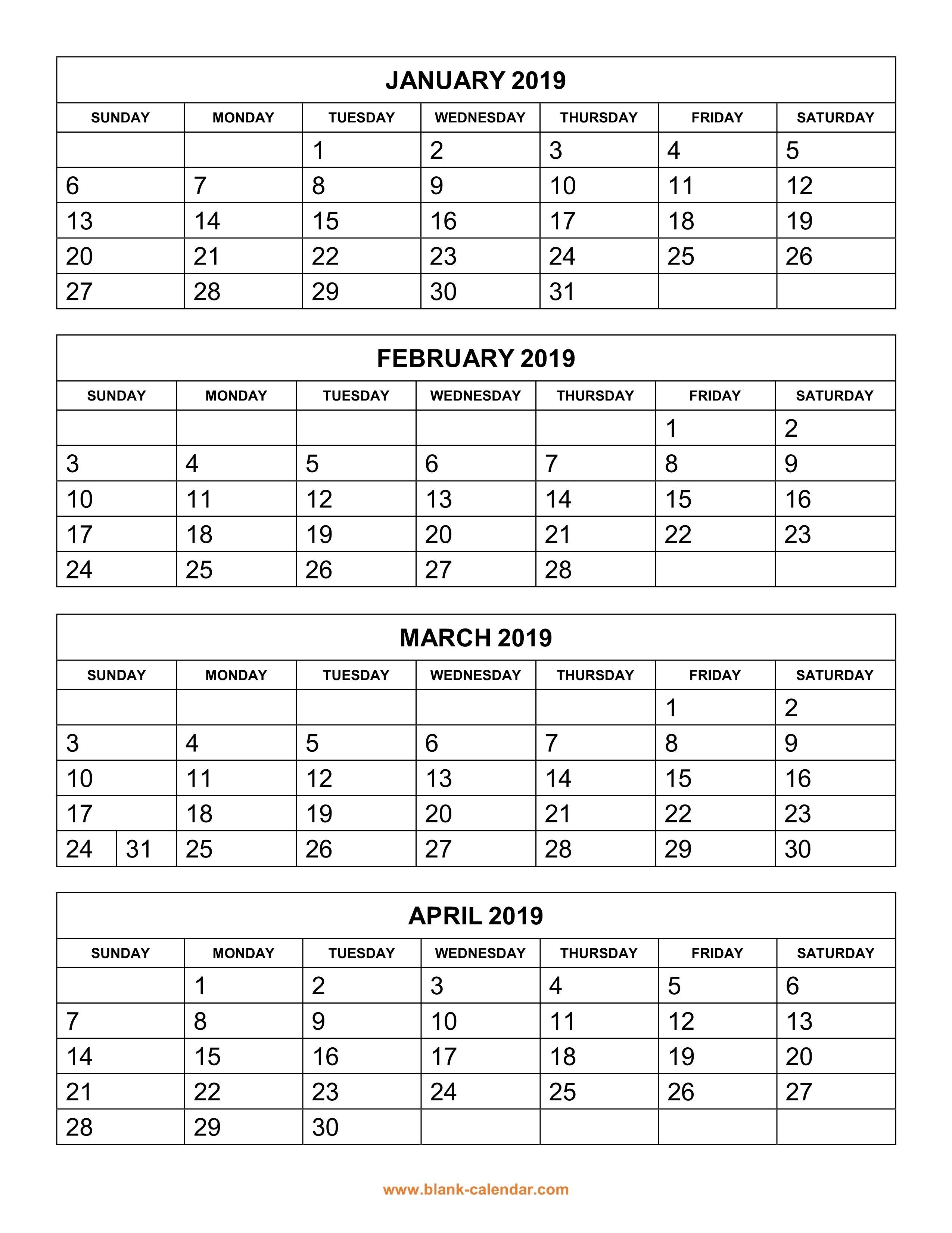 Free Download Printable Calendar 2019, 4 Months Per Page, 3 Pages Calendar 2019 3 Months Per Page