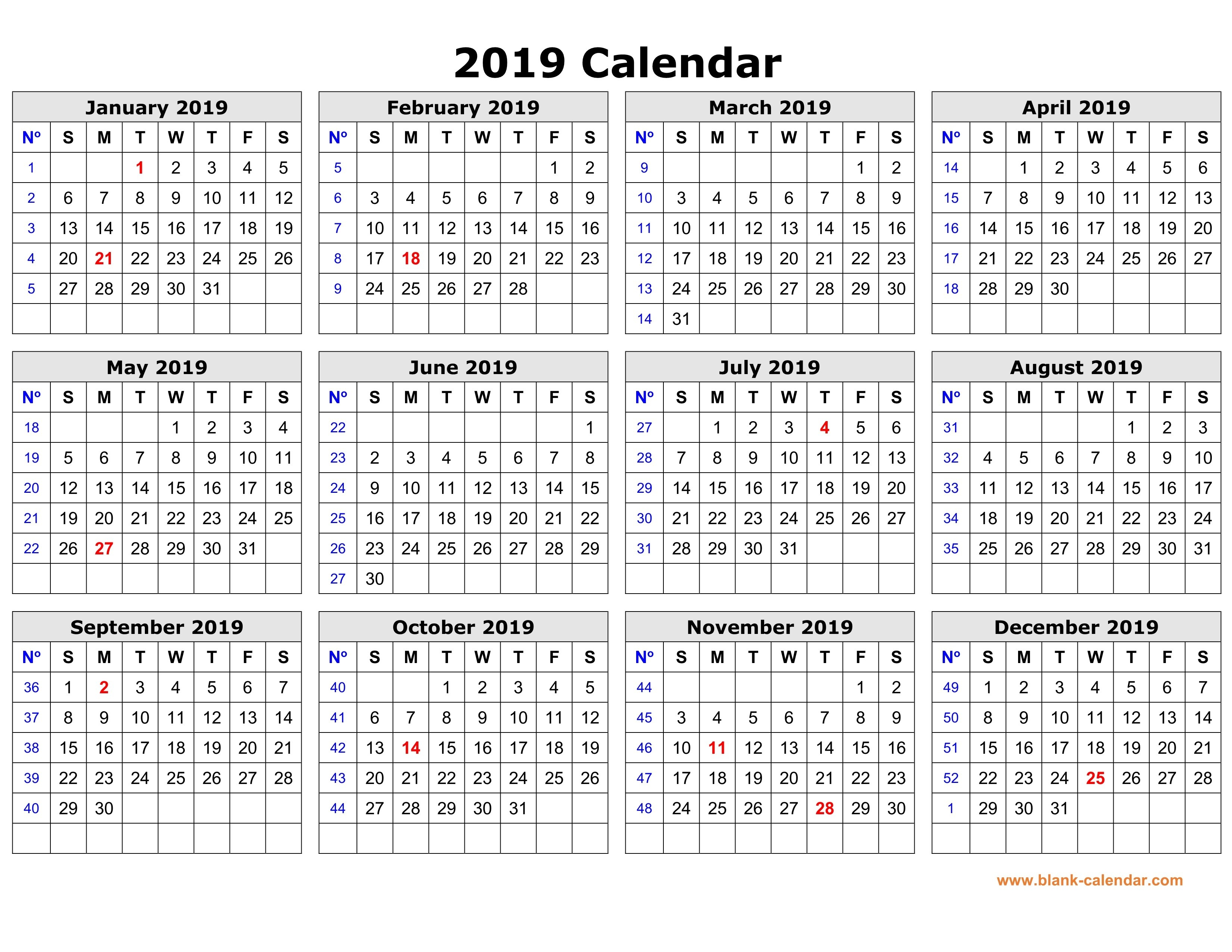 Free Download Printable Calendar 2019 In One Page, Clean Design. Calendar 2019 Year Printable Free