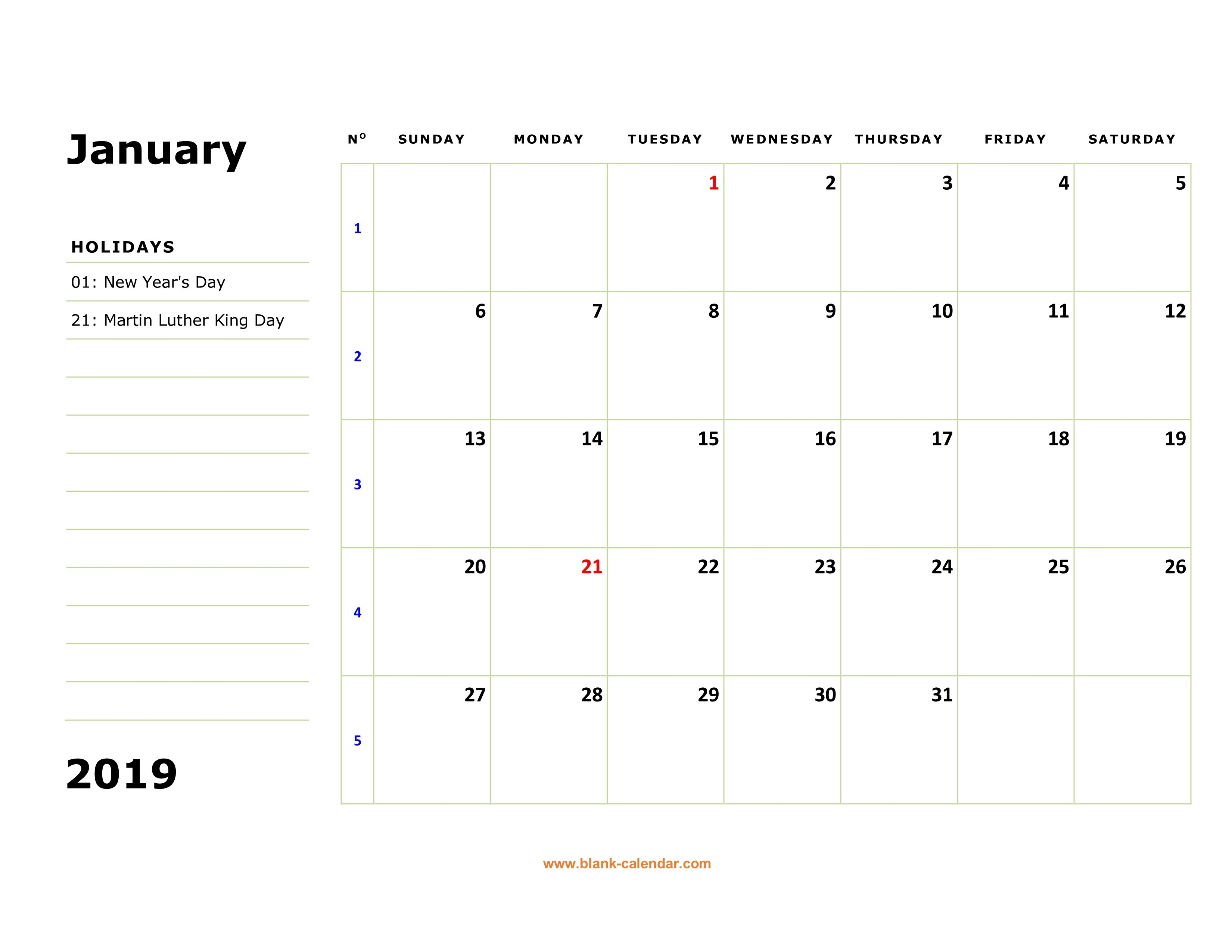 Free Download Printable Calendar 2019, Large Box, Holidays Listed 2019 Calendar 12 Pages
