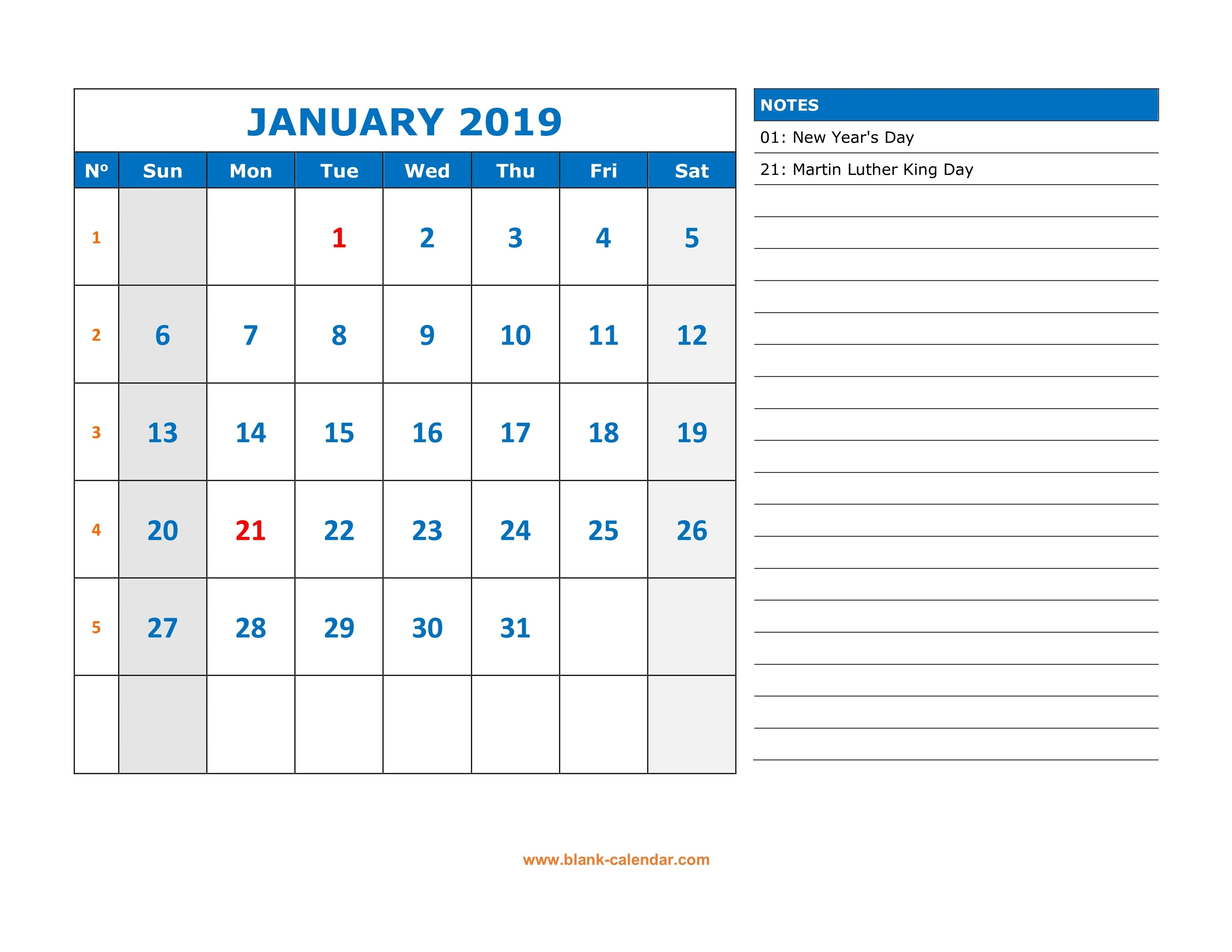 Free Download Printable Calendar 2019, Large Space For Appointment Calendar 2019 Notes