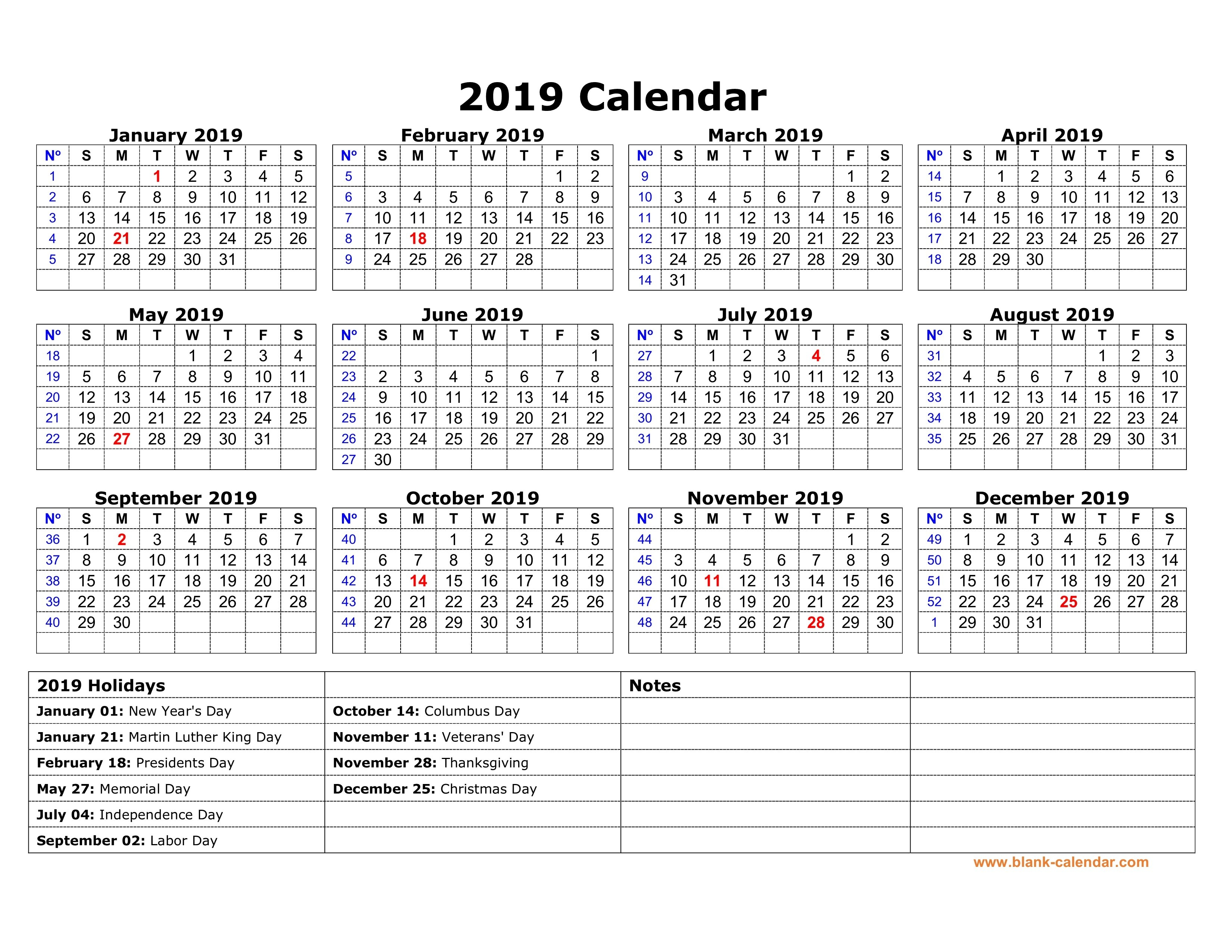 Free Download Printable Calendar 2019 With Us Federal Holidays, One Calendar 2019 Year Printable Free