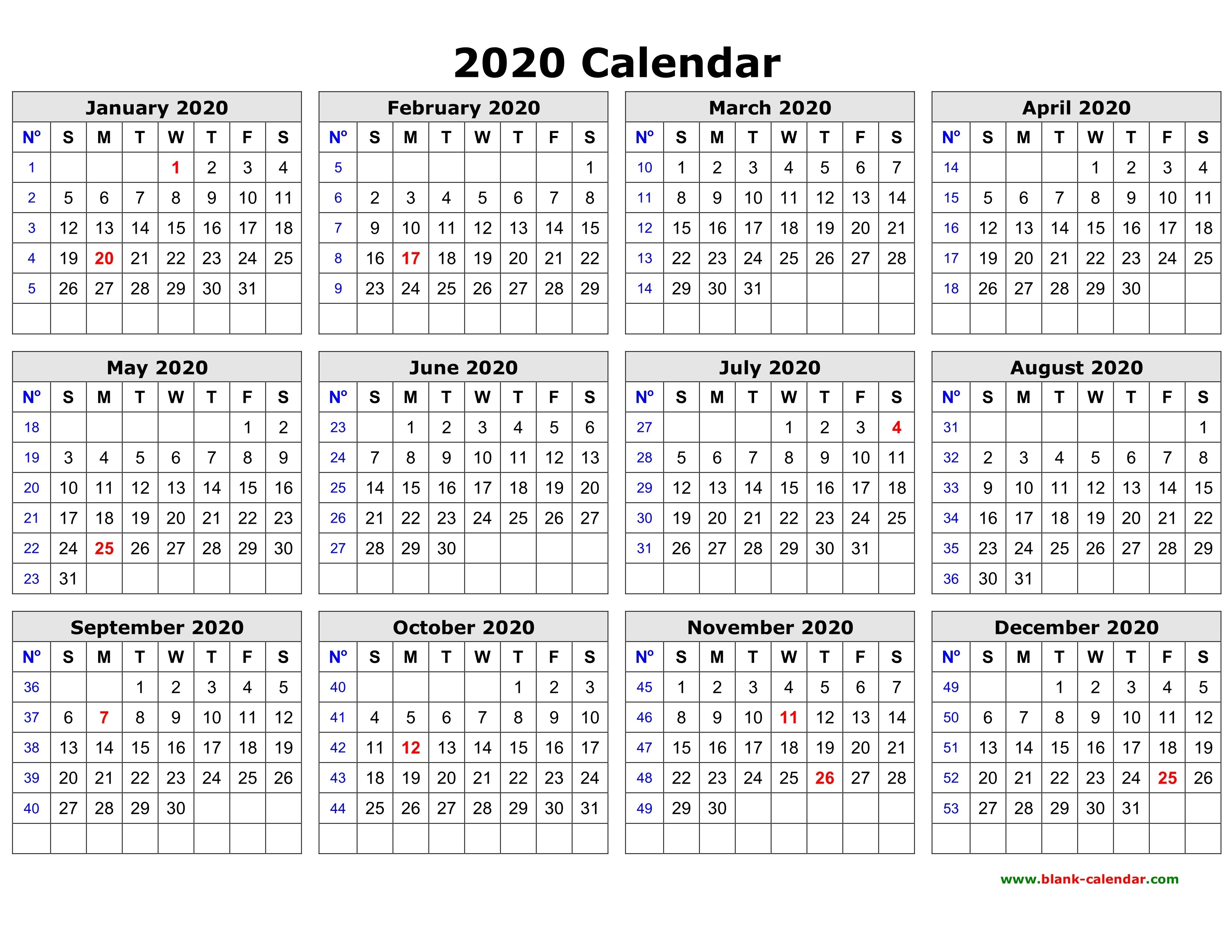 Free Download Printable Calendar 2020 In One Page, Clean Design. 2019 Calendar 2020 Printable