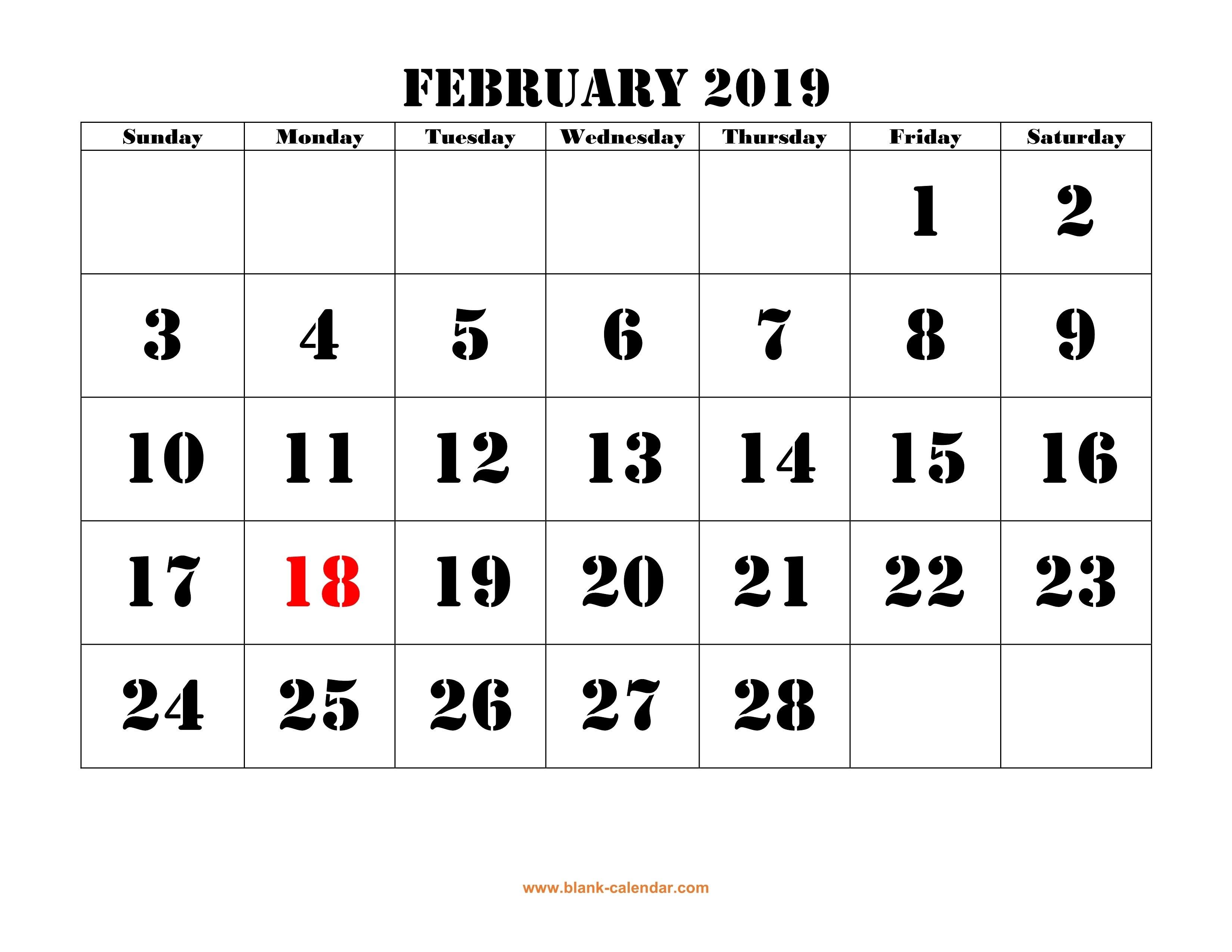 Free Download Printable February 2019 Calendar, Large Font Design February 4 2019 Calendar