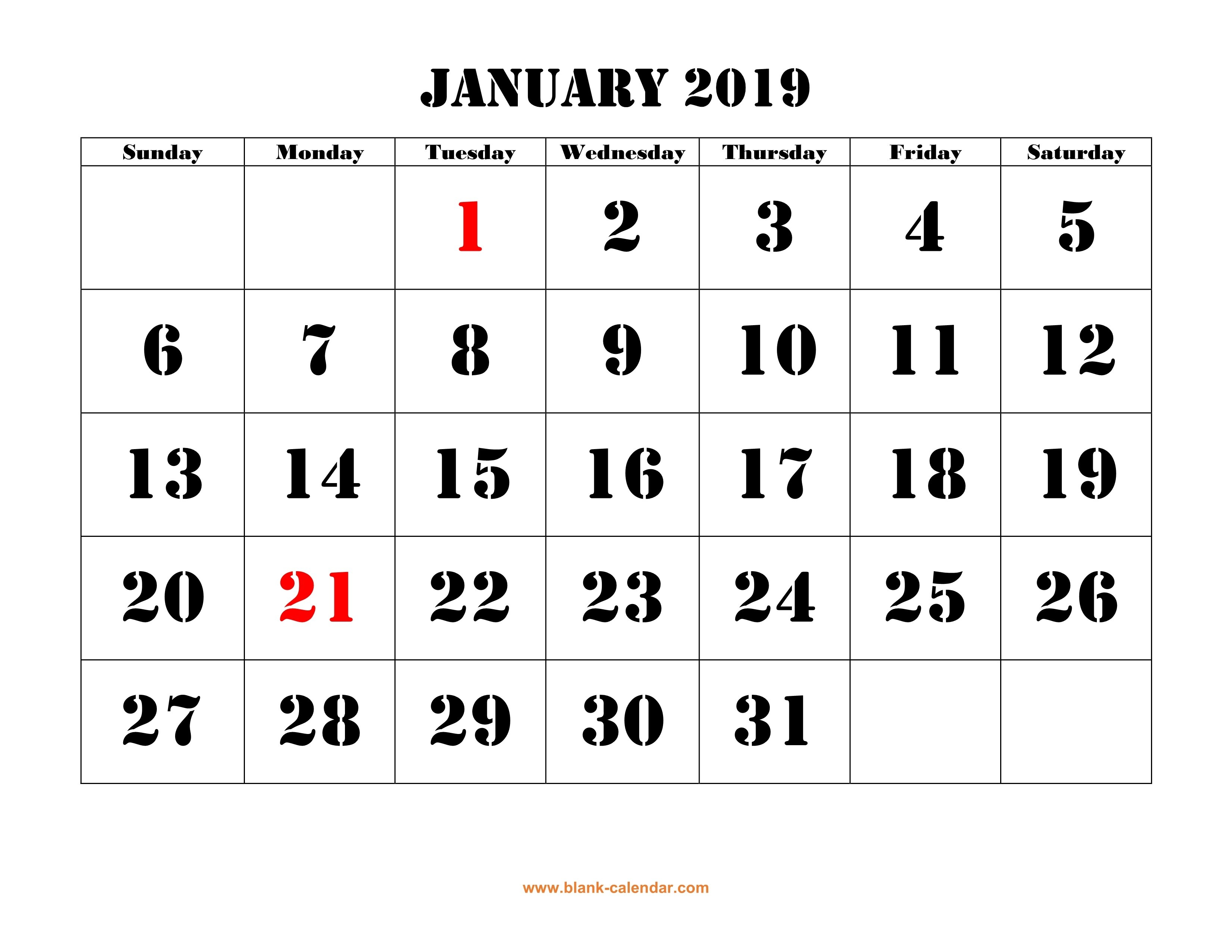 Free Download Printable January 2019 Calendar, Large Font Design Calendar 2019 January With Holidays