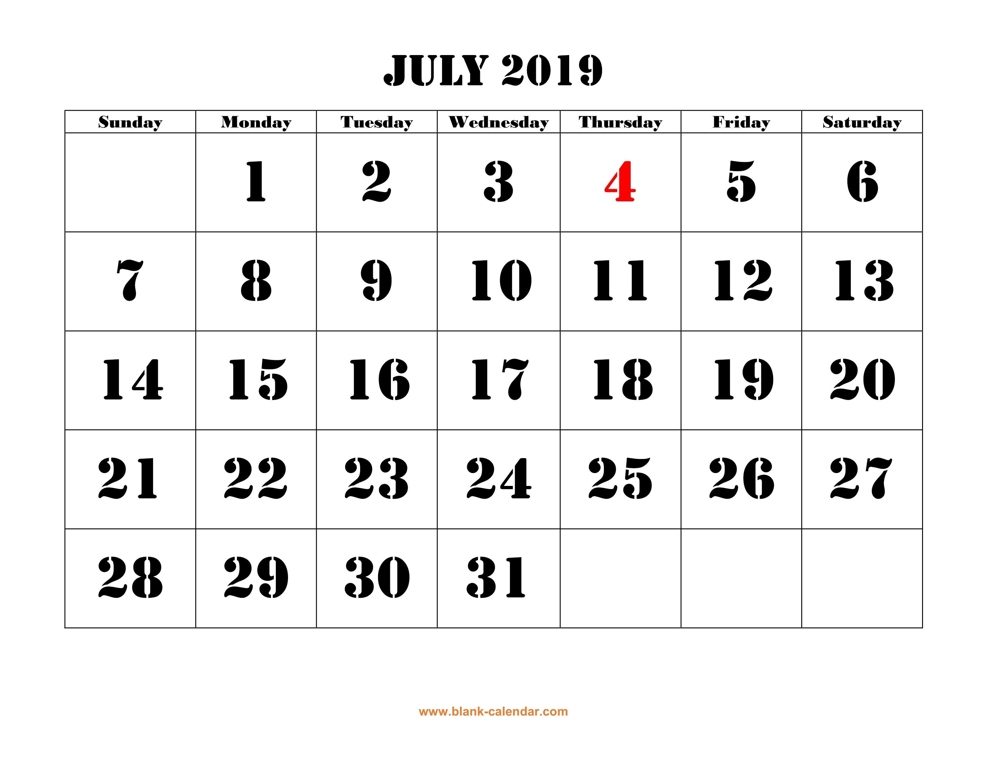 Free Download Printable July 2019 Calendar, Large Font Design July 2 2019 Calendar