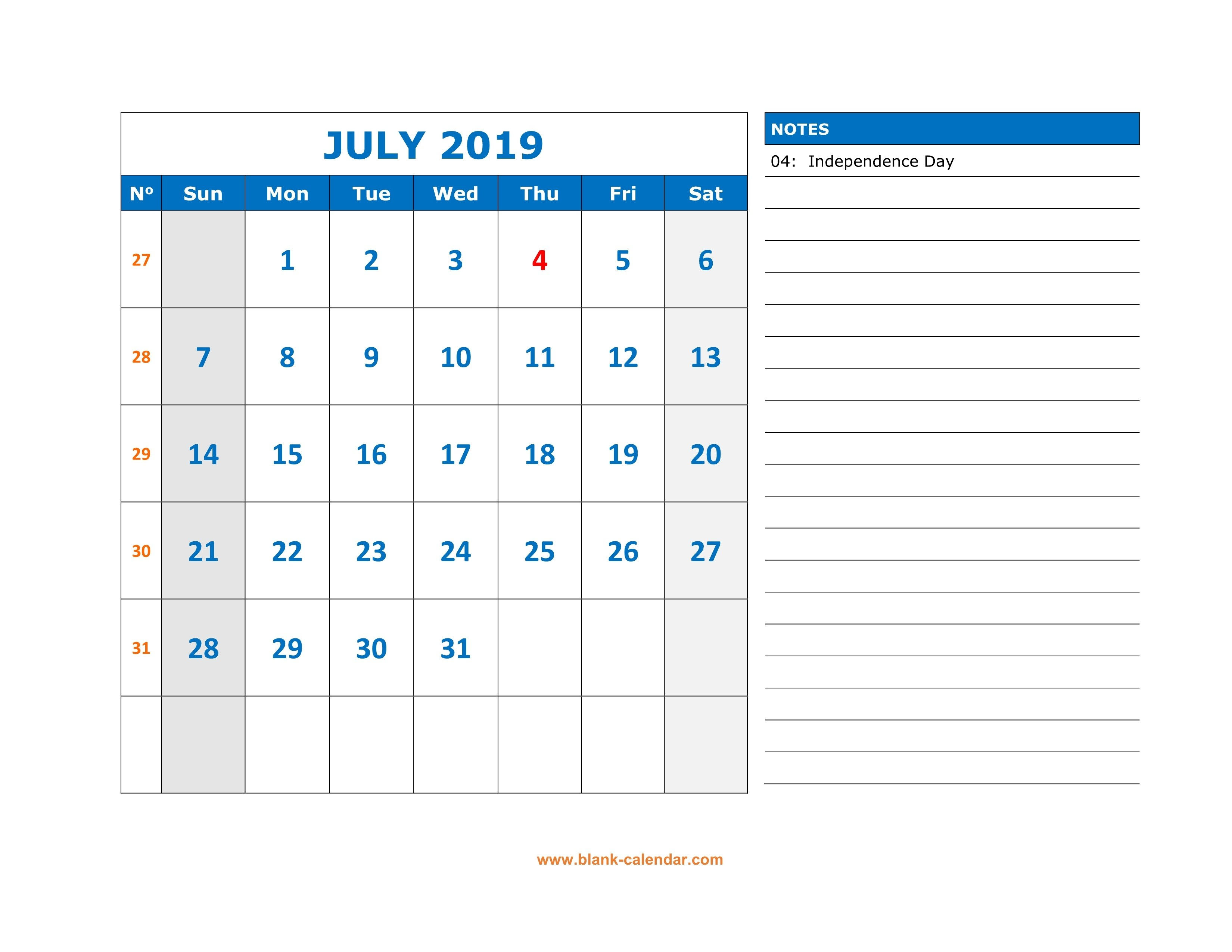 Free Download Printable July 2019 Calendar, Large Space For July 7 2019 Calendar