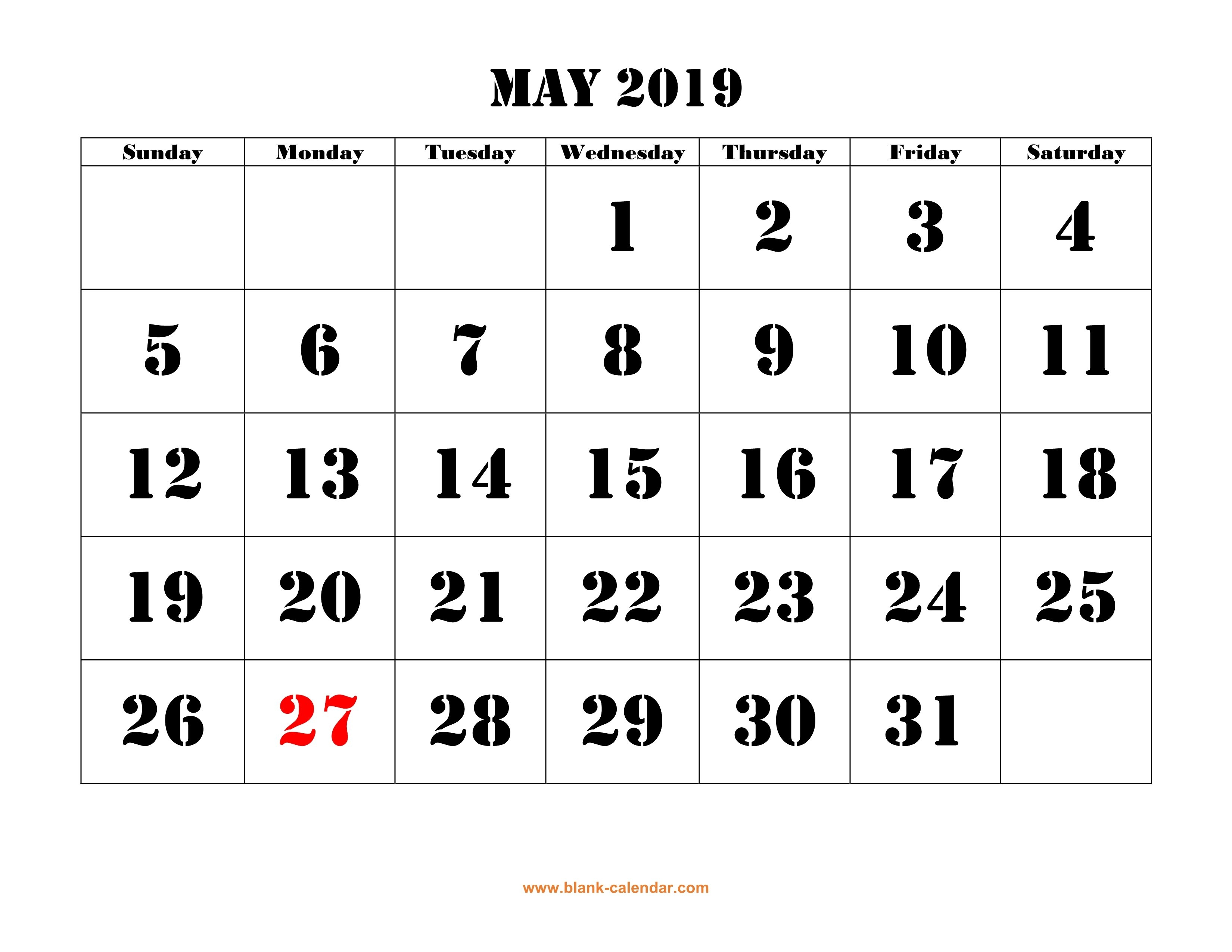 Free Download Printable May 2019 Calendar, Large Font Design Calendar May 3 2019