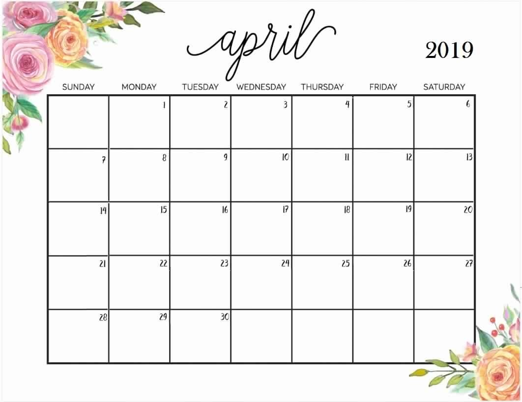 Free Download Template April 2019 Calendar Template - Free Calendar Calendar 2019 Free Download
