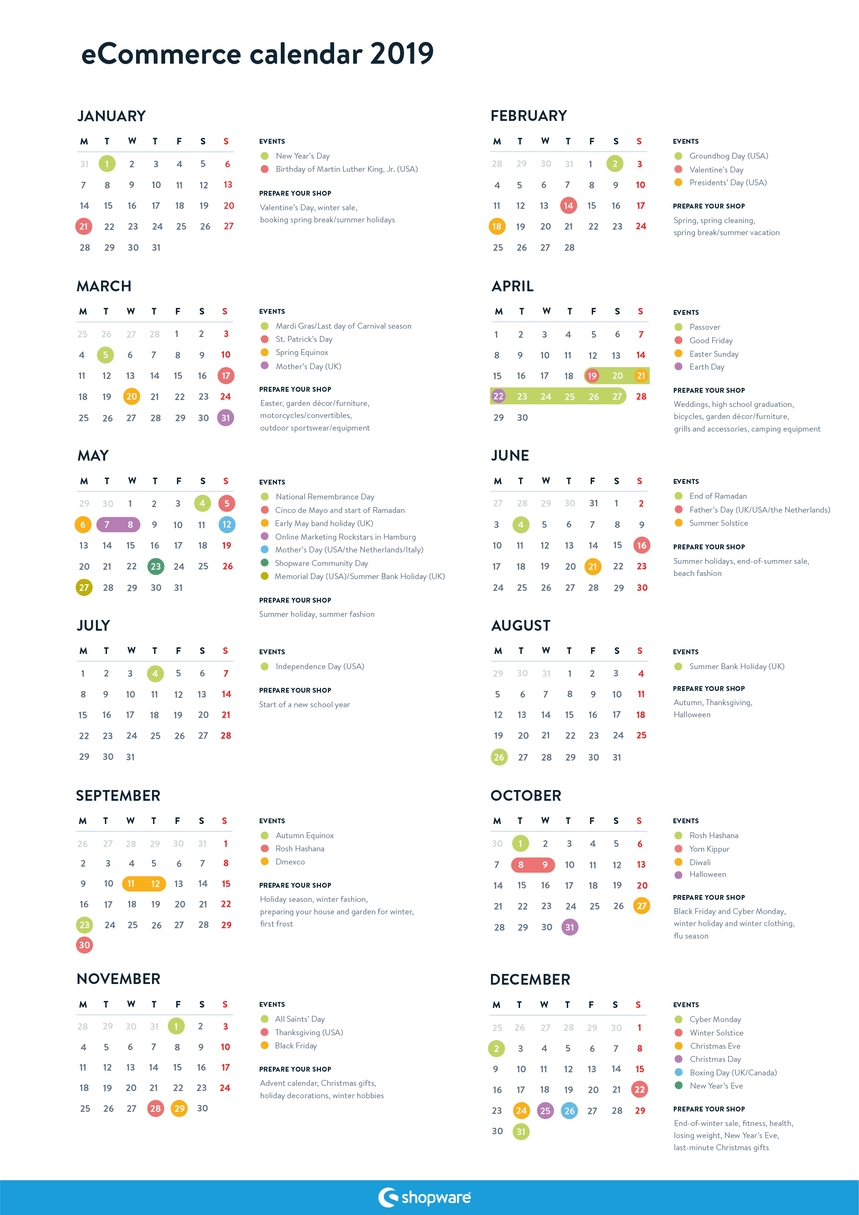 Free Ecommerce Marketing Calendar For 2019 | Shopware (En) Calendar 2019 Order Online