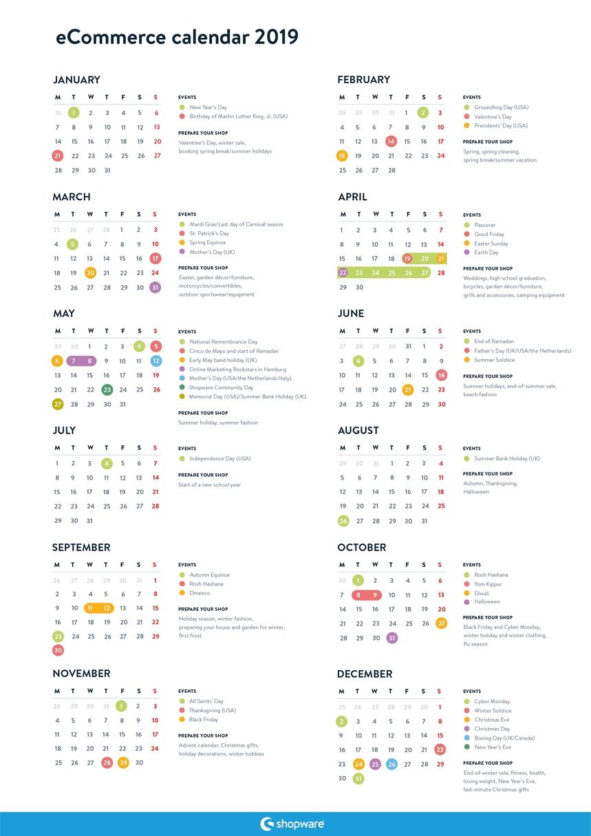 Free Ecommerce Marketing Calendar For 2019 | Shopware (En) Calendar 2019 Shop