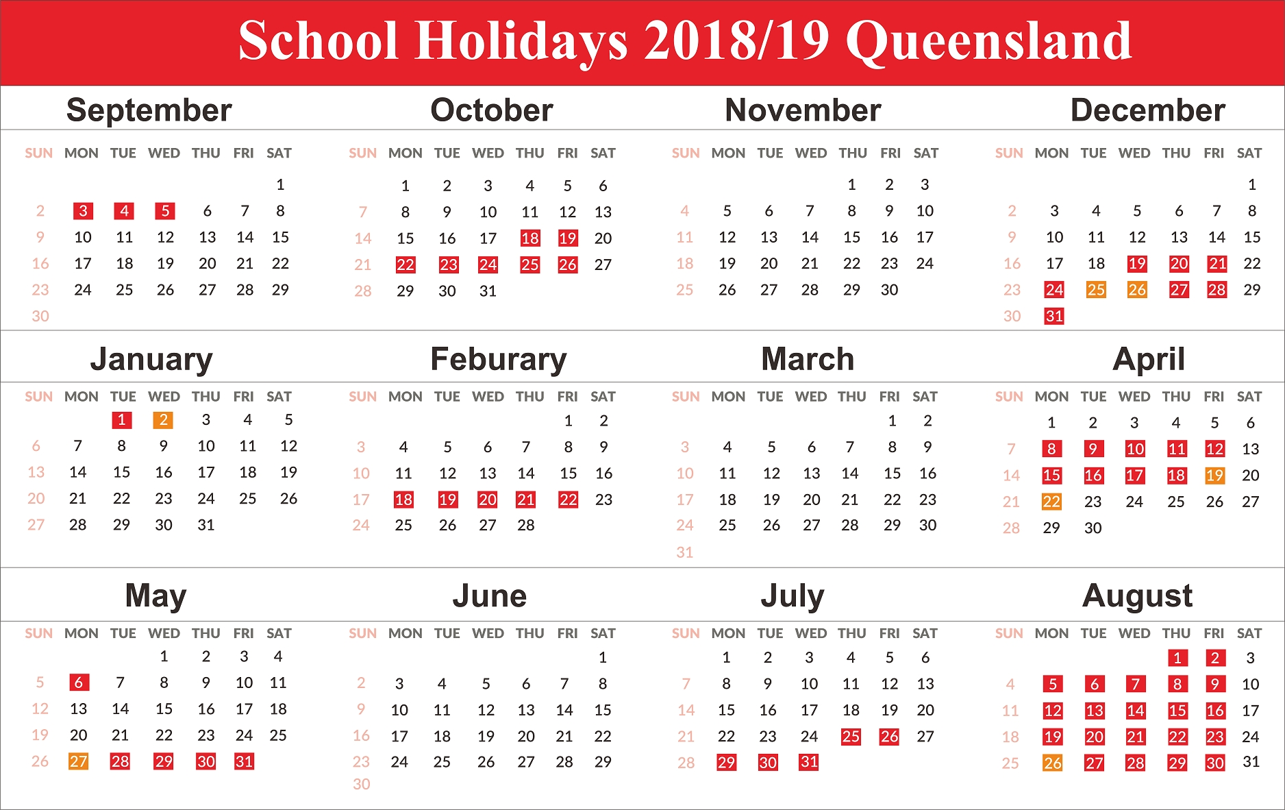 Free Editable School Holidays 2019 Calendar Qld (Queensland 2019 Calendar Qld Template