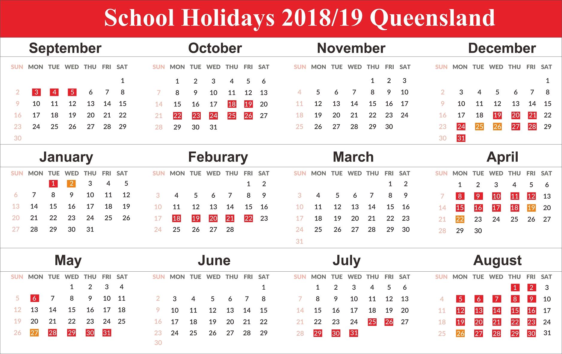 Free Editable School Holidays 2019 Calendar Qld (Queensland Calendar 2019 Qld School