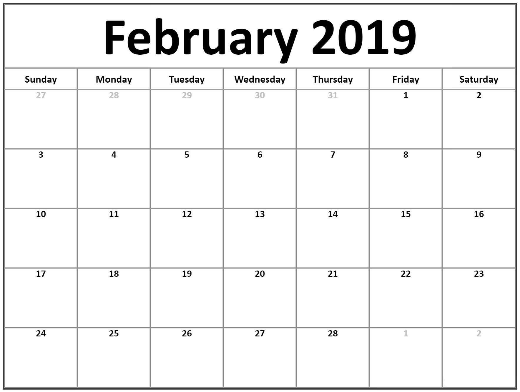 Free February 2019 Printable Calendar Templates - Calendar Hour Download A Calendar 2019