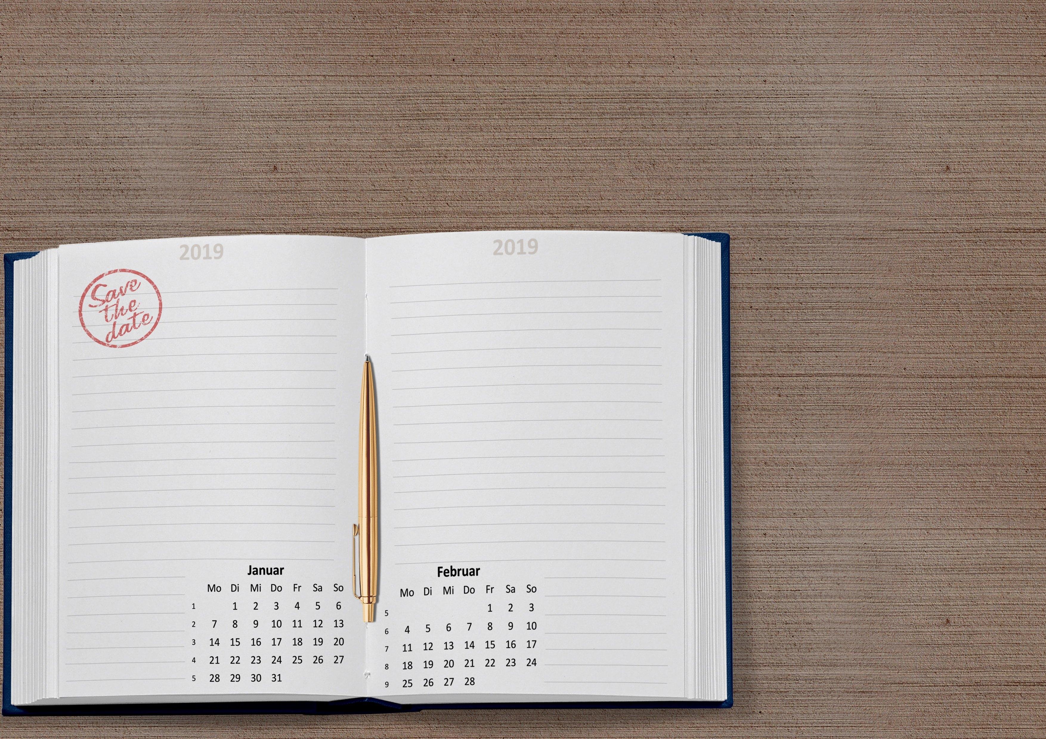 Free Images : Calendar, 2019, Date, January, February, Week, Month Calendar 2019 Notebook