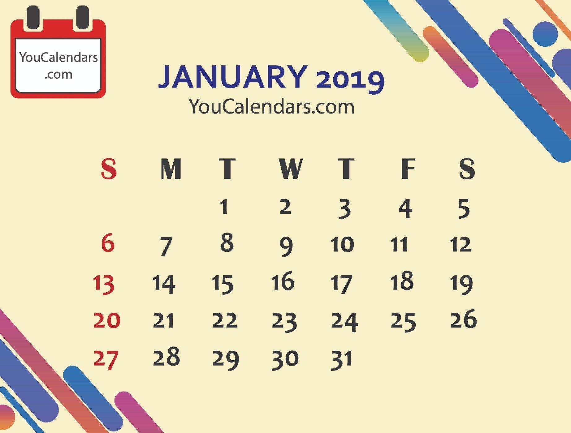 Free January 2019 Calendar Printable Template - You Calendars January 8 2019 Calendar