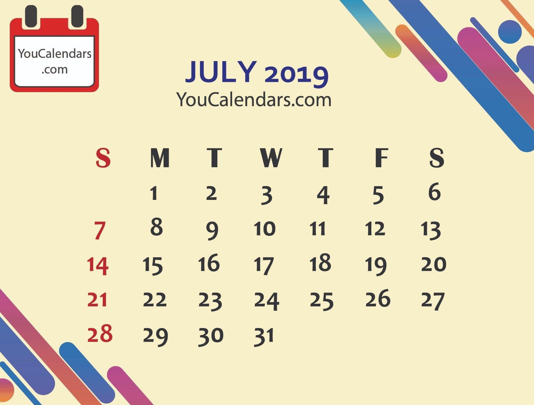 Free July 2019 Calendar Printable Template - You Calendars July 9 2019 Calendar