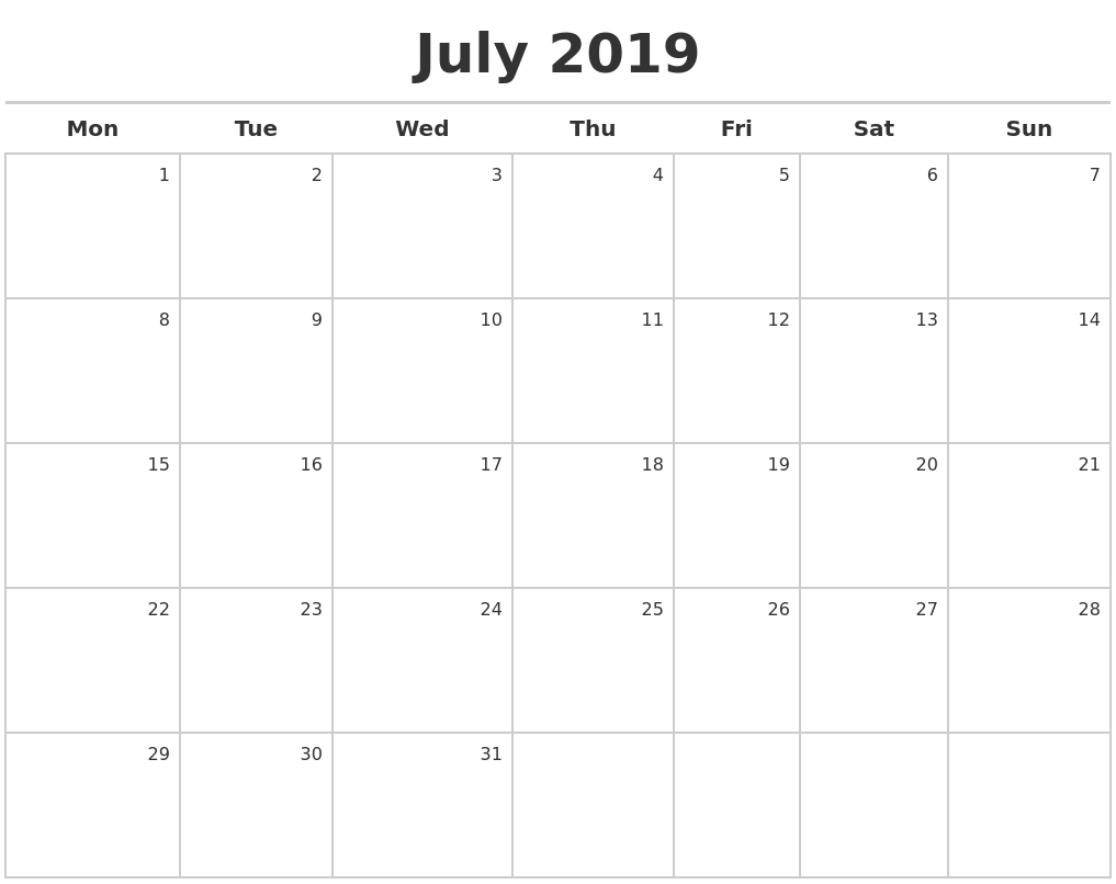 Free July 2019 Printable Calendar Pdf Word Excel | Free Editable Calendar 2019 Excel Starting Monday