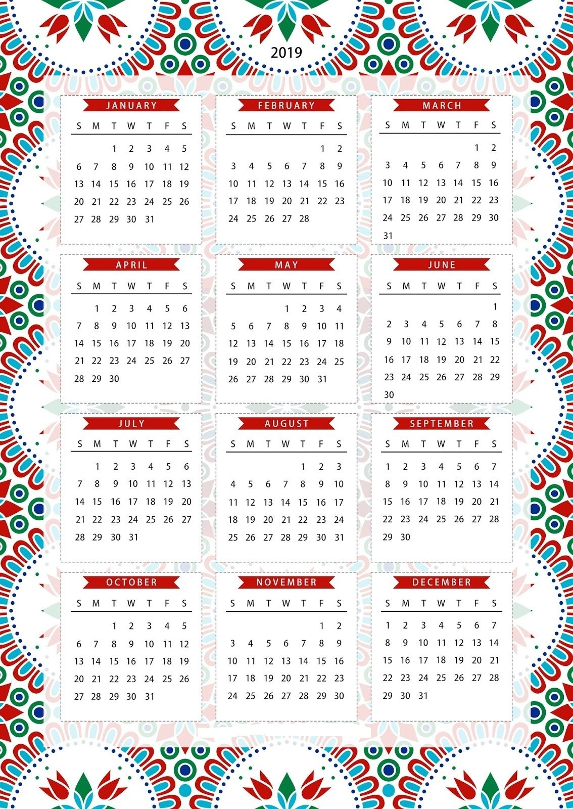 Free One Page Calendar Template Printable Download 2019 | Free Calendar 2019 1 Page