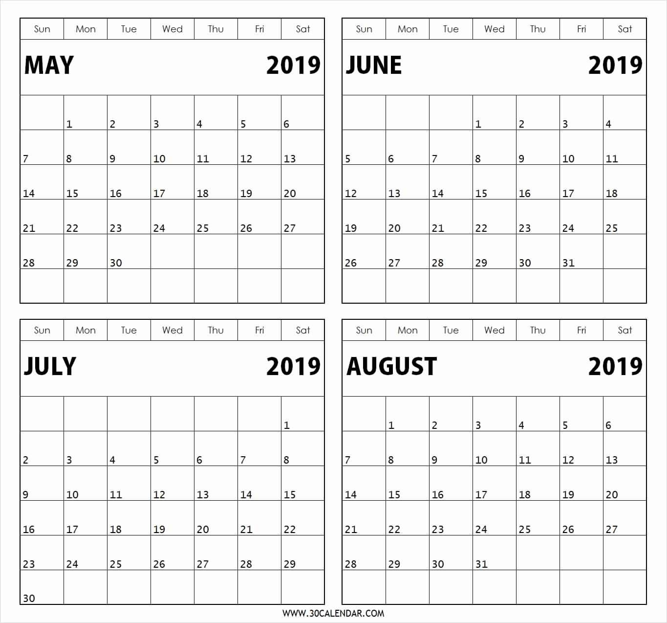 Free Printable 2019 4 Months Per Page Calendar Download | July 2018 Calendar 2019 3 Months Per Page