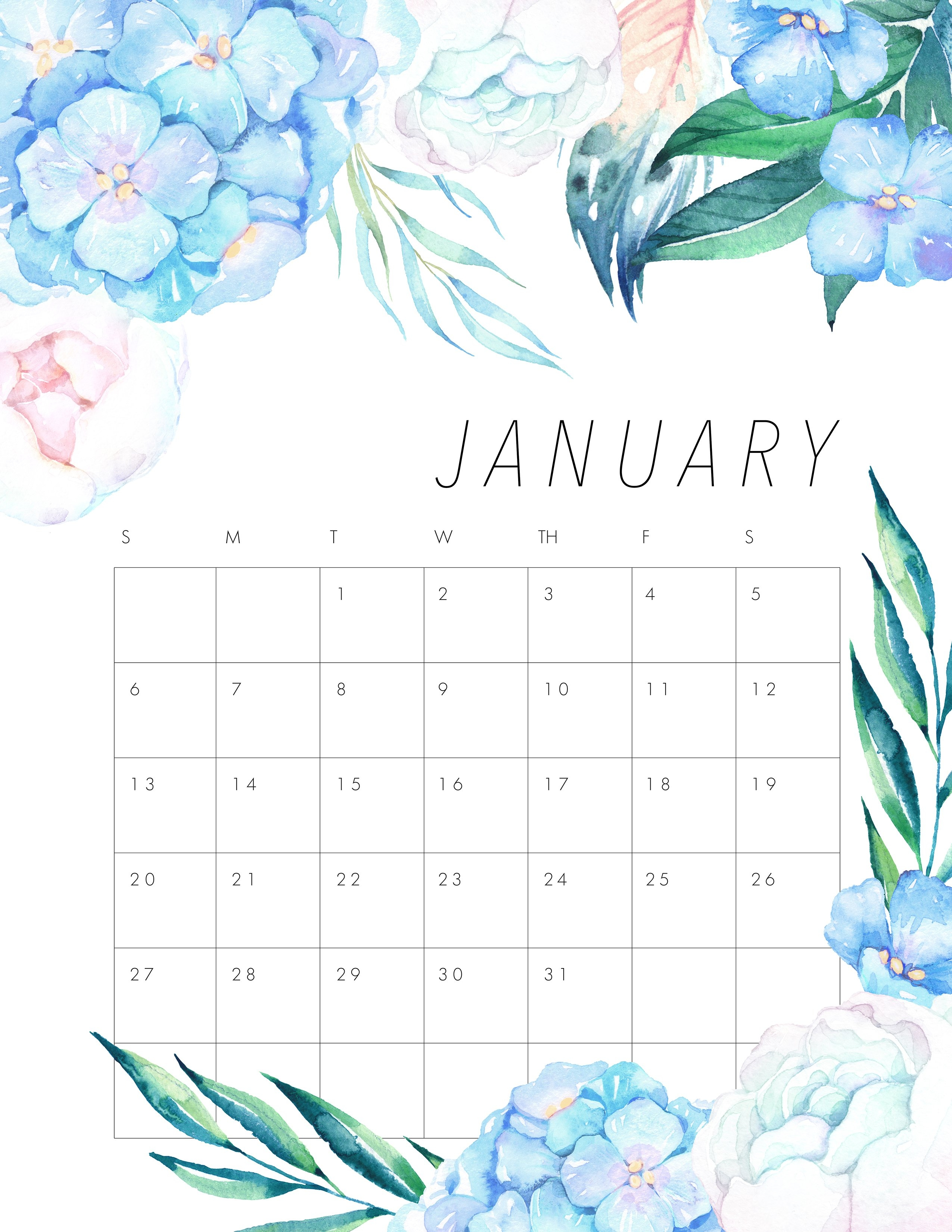 Free Printable 2019 Floral Calendar - The Cottage Market 2019 Calendar 8.5 X 11 Printable