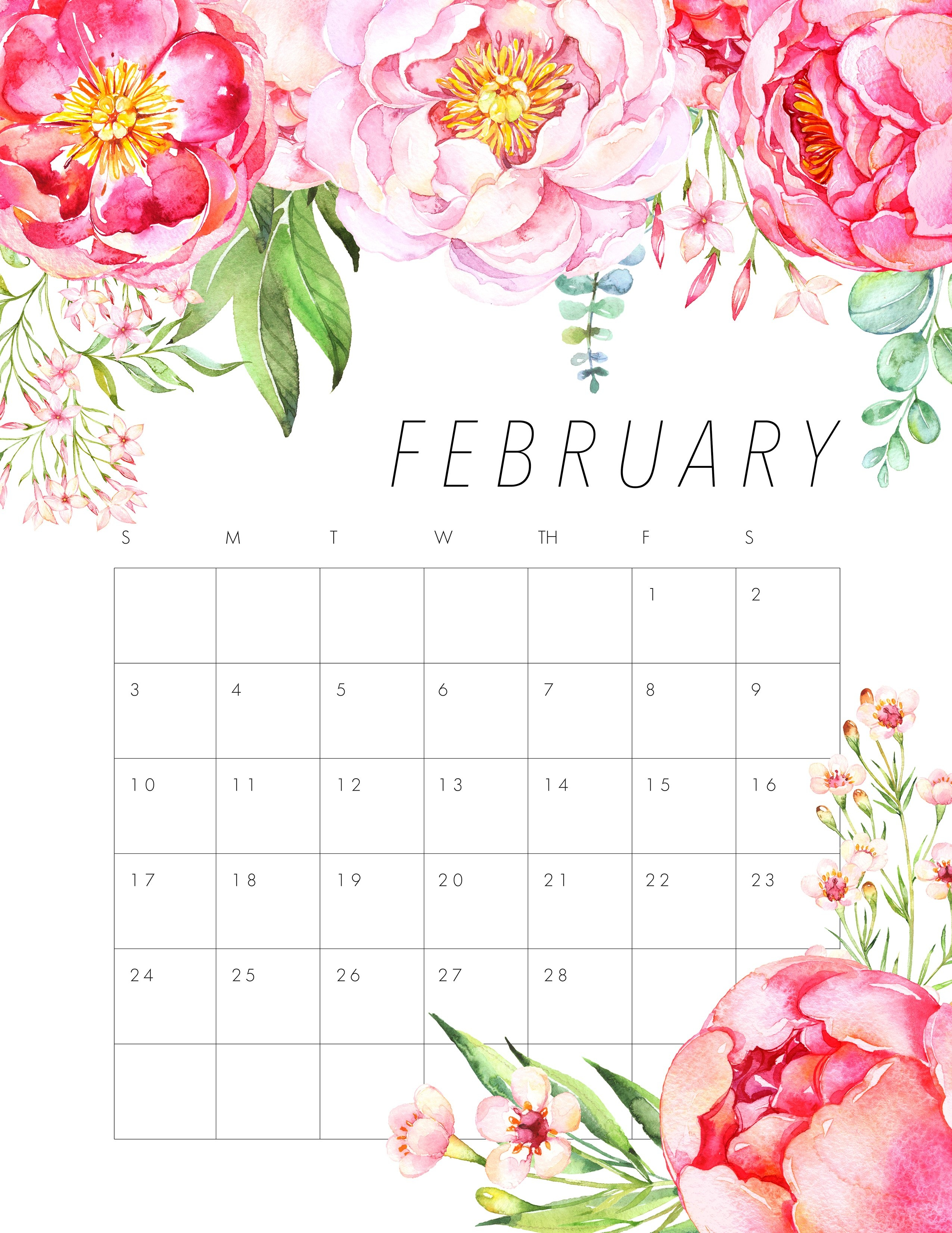 Free Printable 2019 Floral Calendar - The Cottage Market Calendar 2019 Flowers