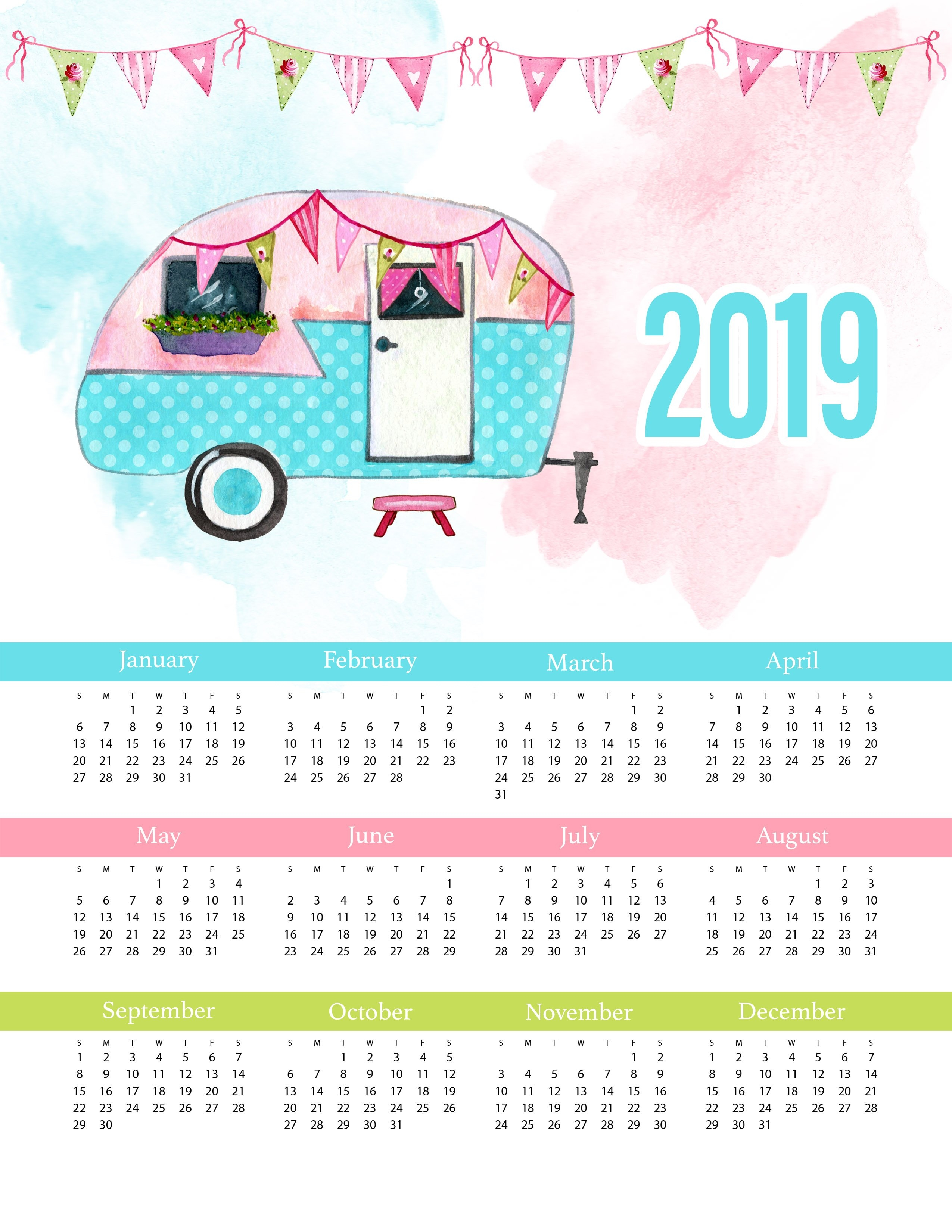 Free Printable 2019 Glamping One Page Calendar - The Cottage Market Calendar 2019 1 Page